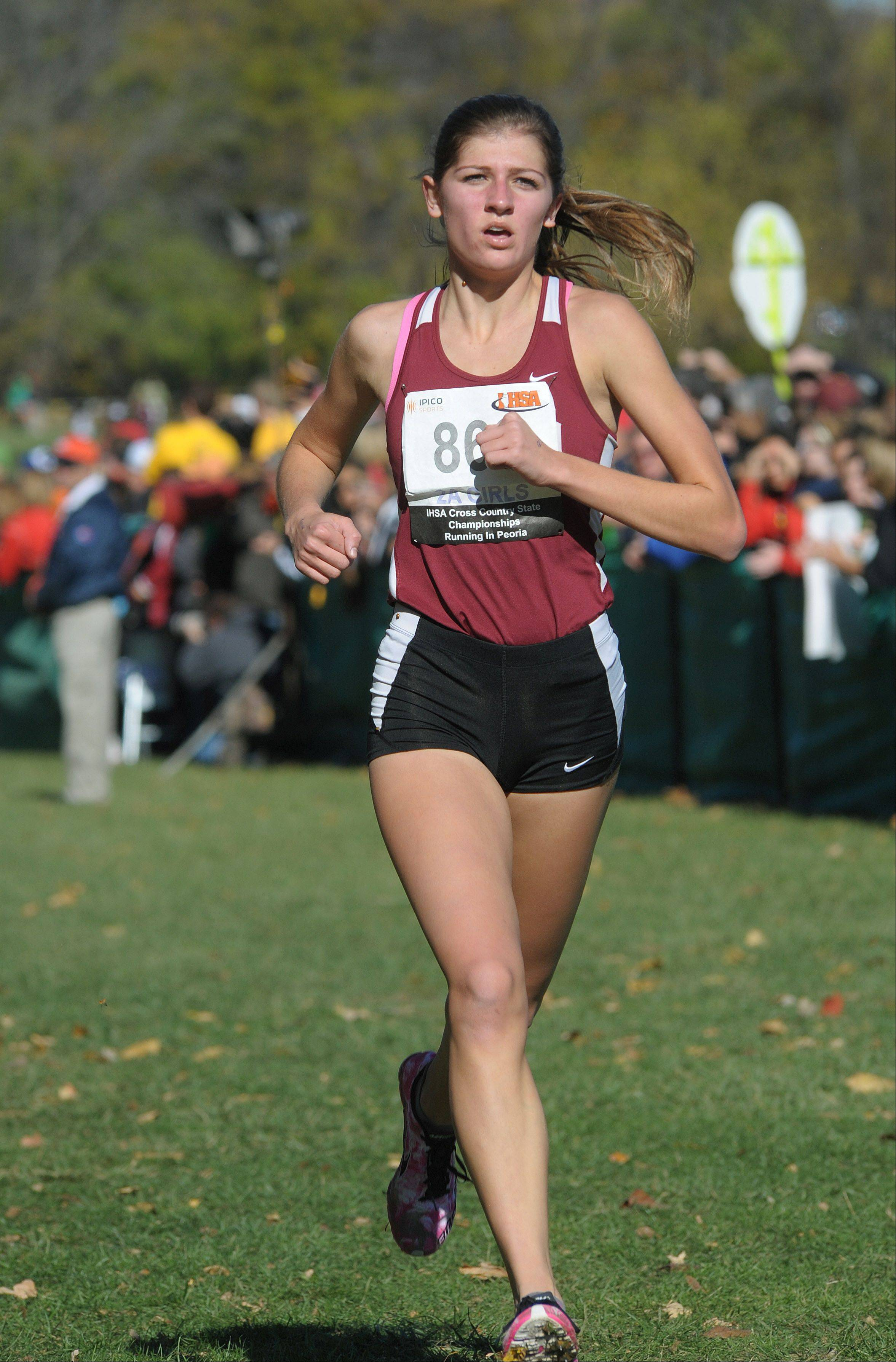 Montini's Brittany Fisher takes 14th place in the Class 2A IHSA cross country state final at Detweiller Park in Peoria on Saturday, November 9.