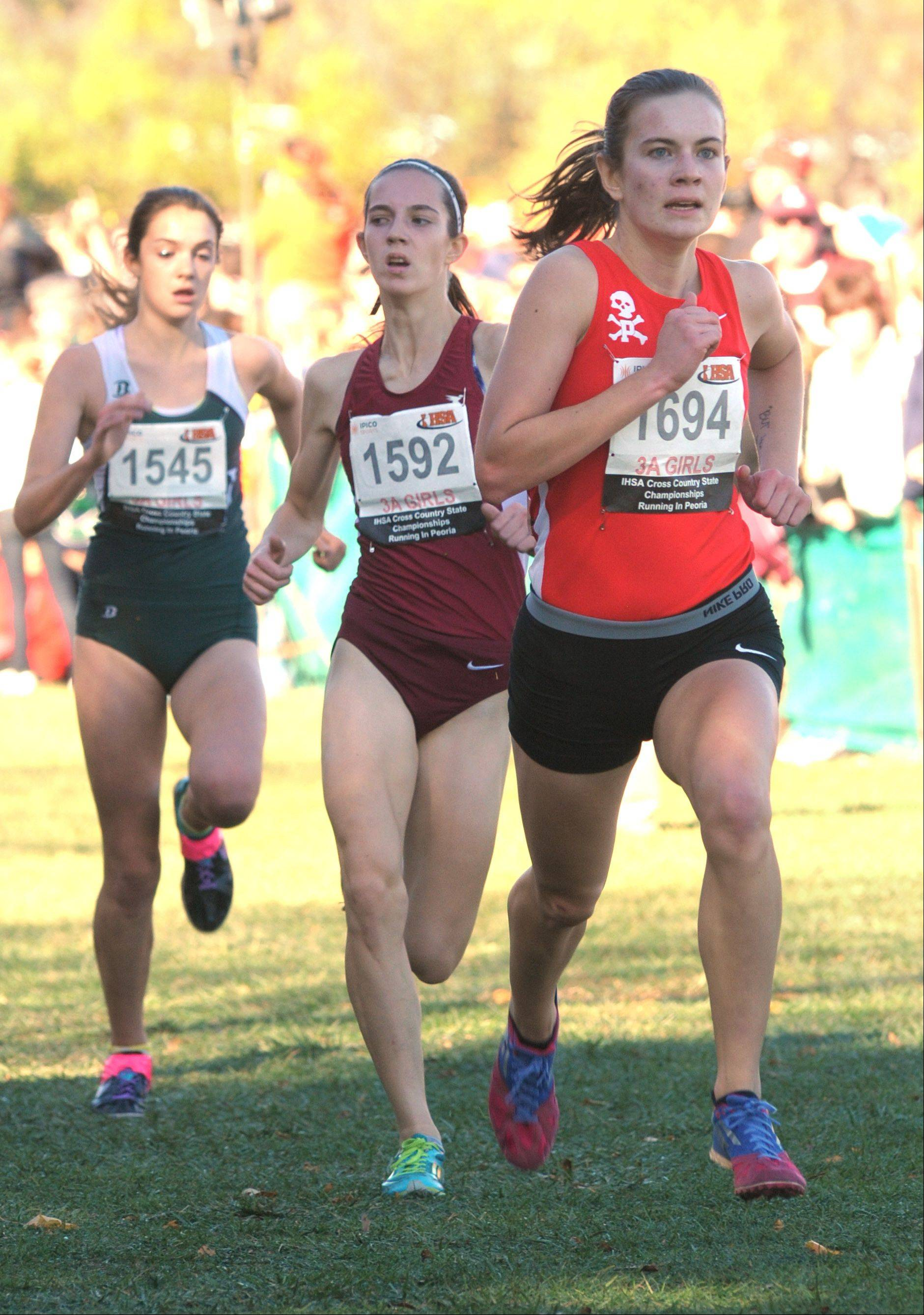 Palatine's Kelly O'Brien takes 6th place in the Class 3A IHSA cross country state finals at Detweiller Park in Peoria on Saturday, November 9.