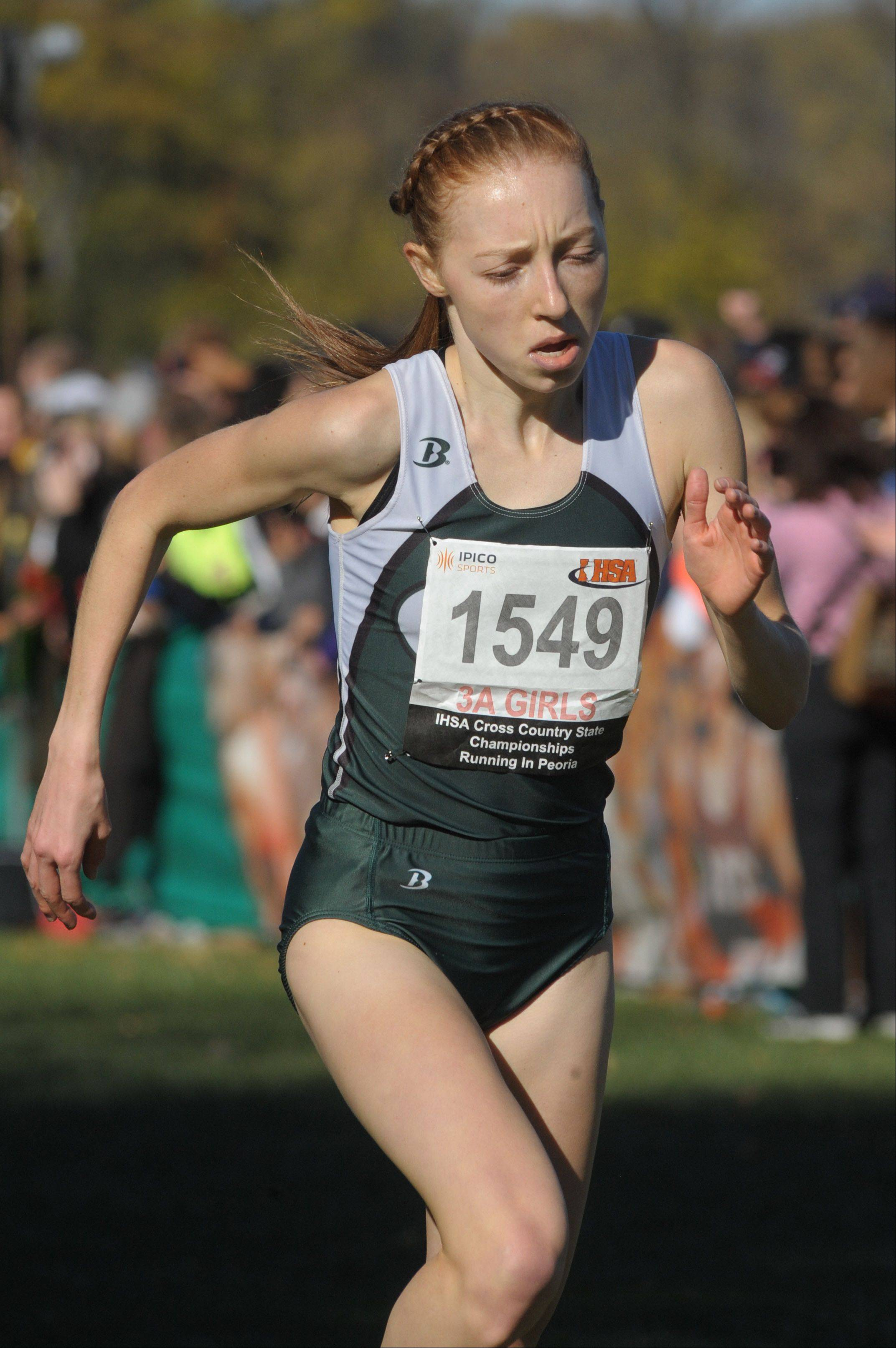 Glenbard West's Madeline Perez takes third place in the Class 3A IHSA cross country state finals at Detweiller Park in Peoria on Saturday, November 9.