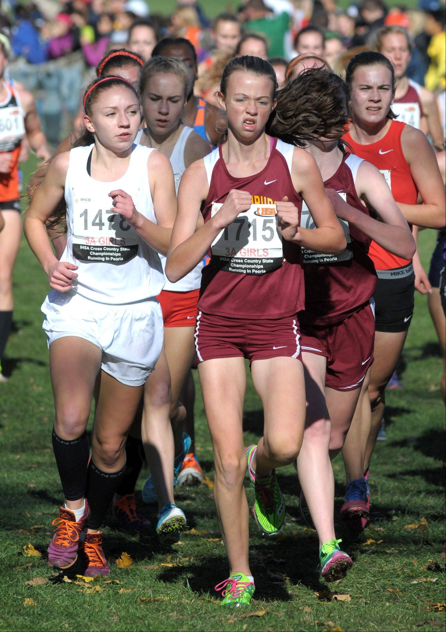 Barrington's Caroline Reynolds (1478) and Schaumburg's Ellie O'Connell (1715) compete in the Class 3A cross country state finals at Detweiller Park in Peoria on Saturday.