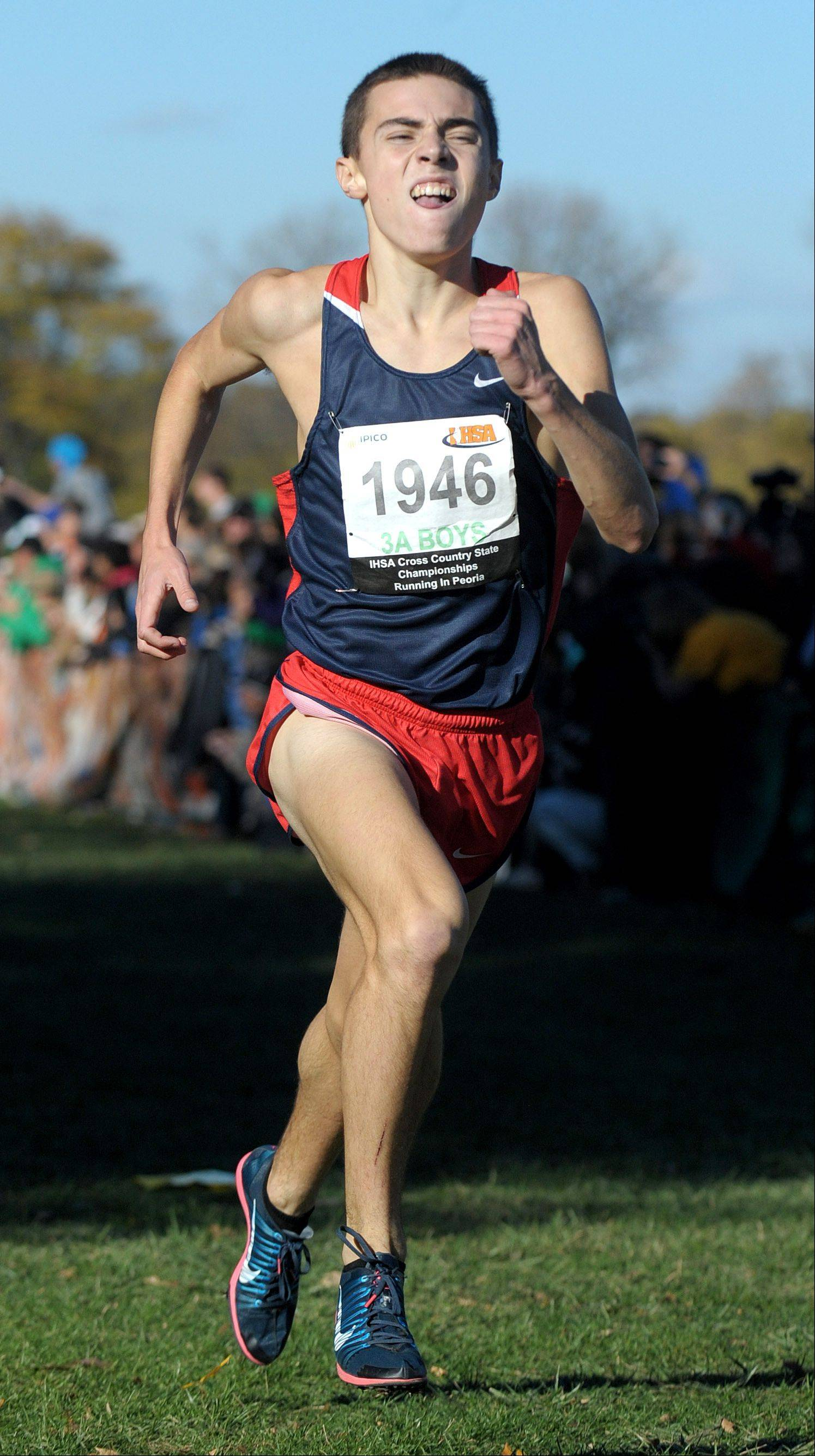 Conant's Zach Dale takes fourth place in the Class 3A cross country state final at Detweiller Park in Peoria.