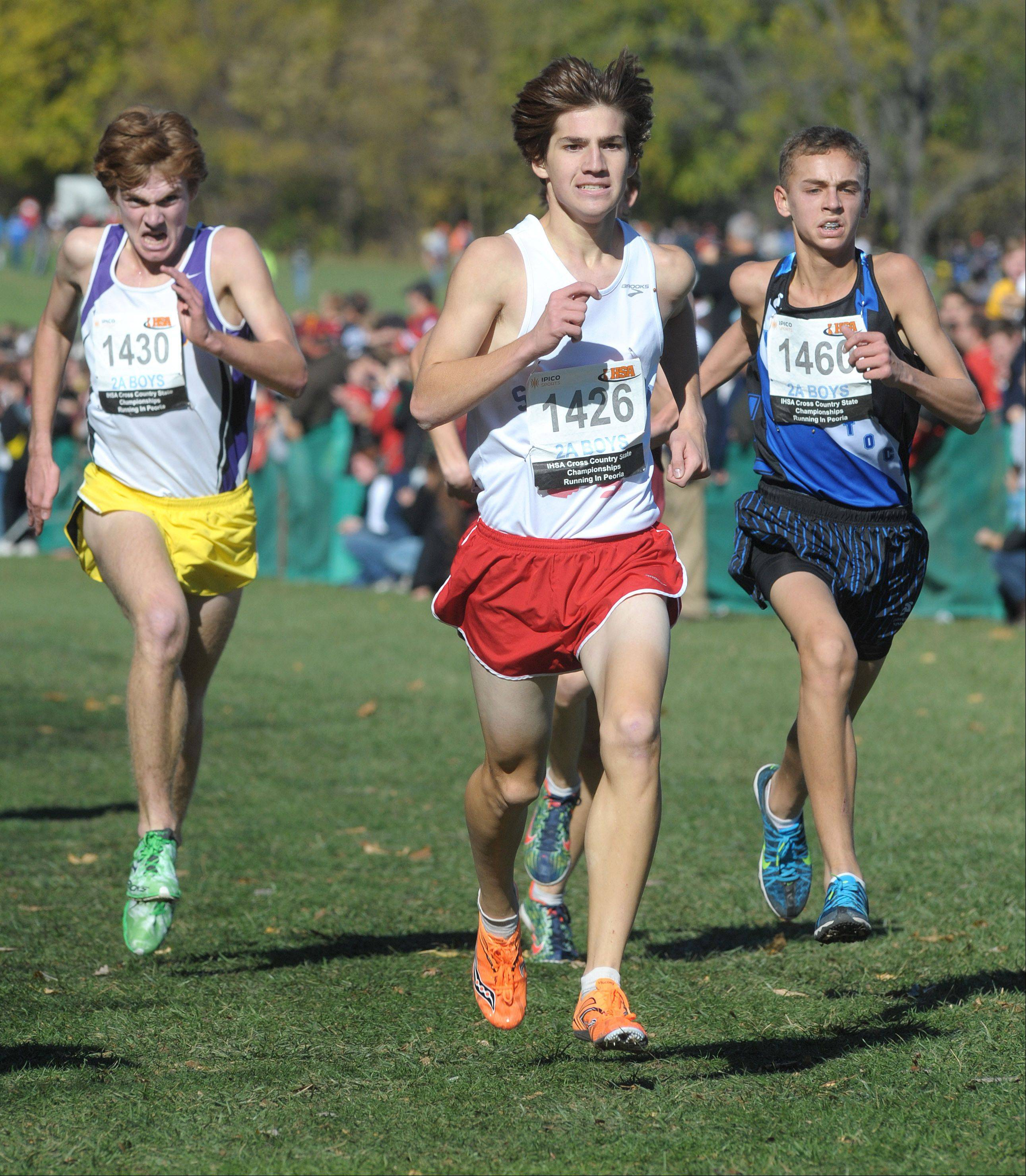 St. Viator's Nick Brey heads for a 20th-place Class 2A finish at Detweiller Park in Peoria on Saturday.