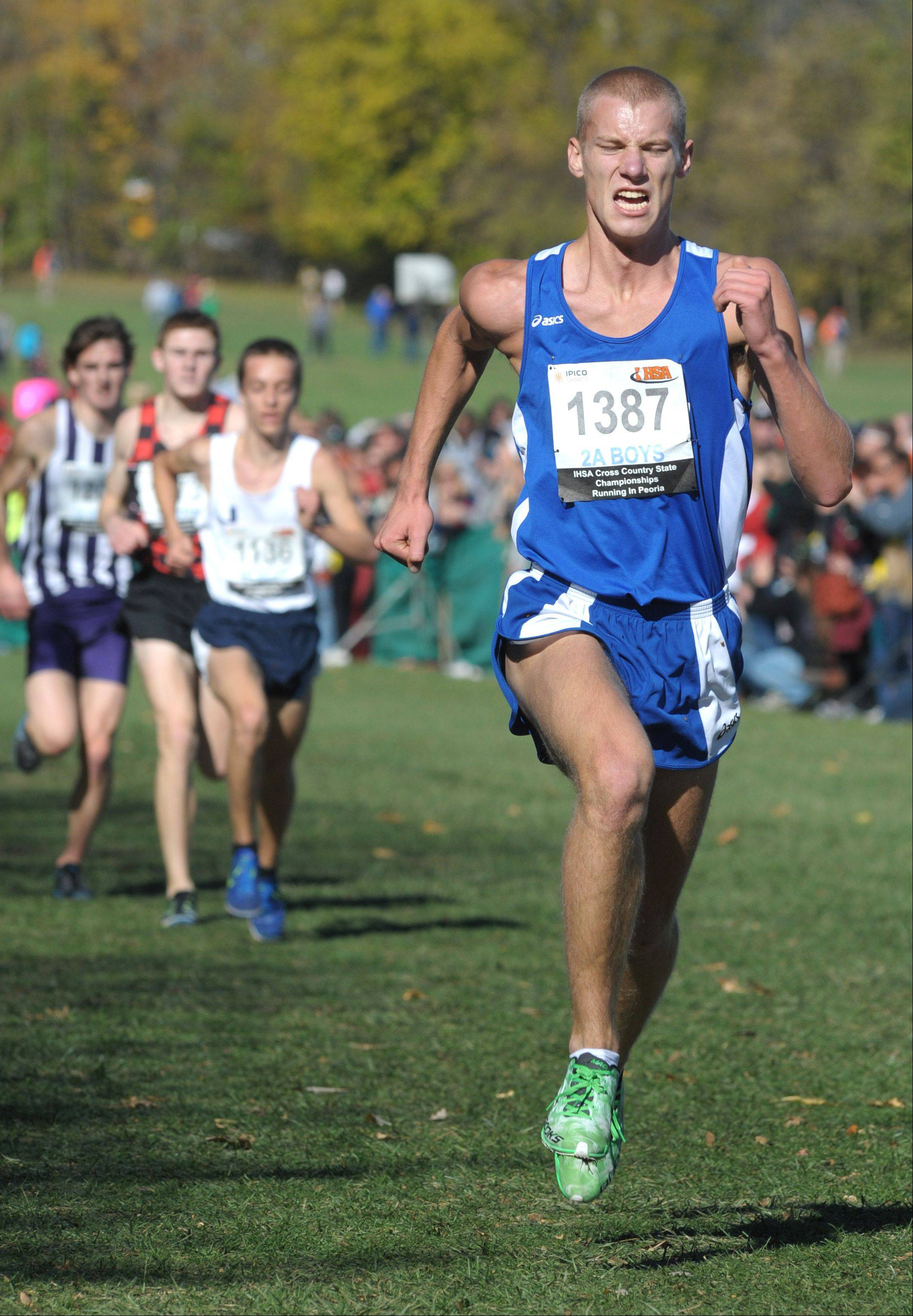 Laura Stoecker/lstoecker@dailyherald.comVernon Hills' Kyle Whitney takes 8th place in the Class 2A IHSA cross country state final at Detweiller Park in Peoria on Saturday, November 9.