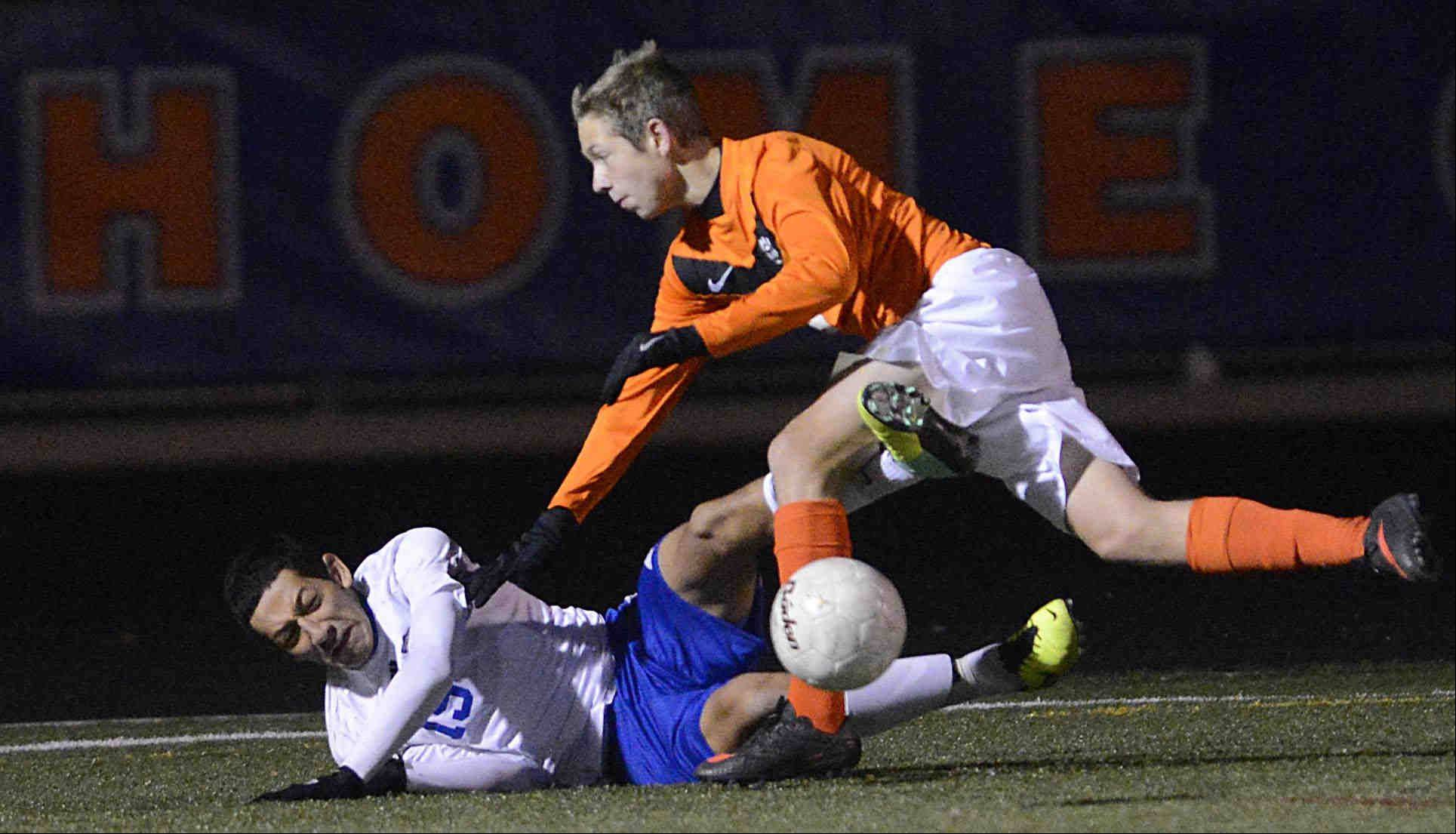 John Starks/jstarks@dailyherald.comWheeling competes in the Class 3A soccer state championship game Saturday night in Hoffman Estates.