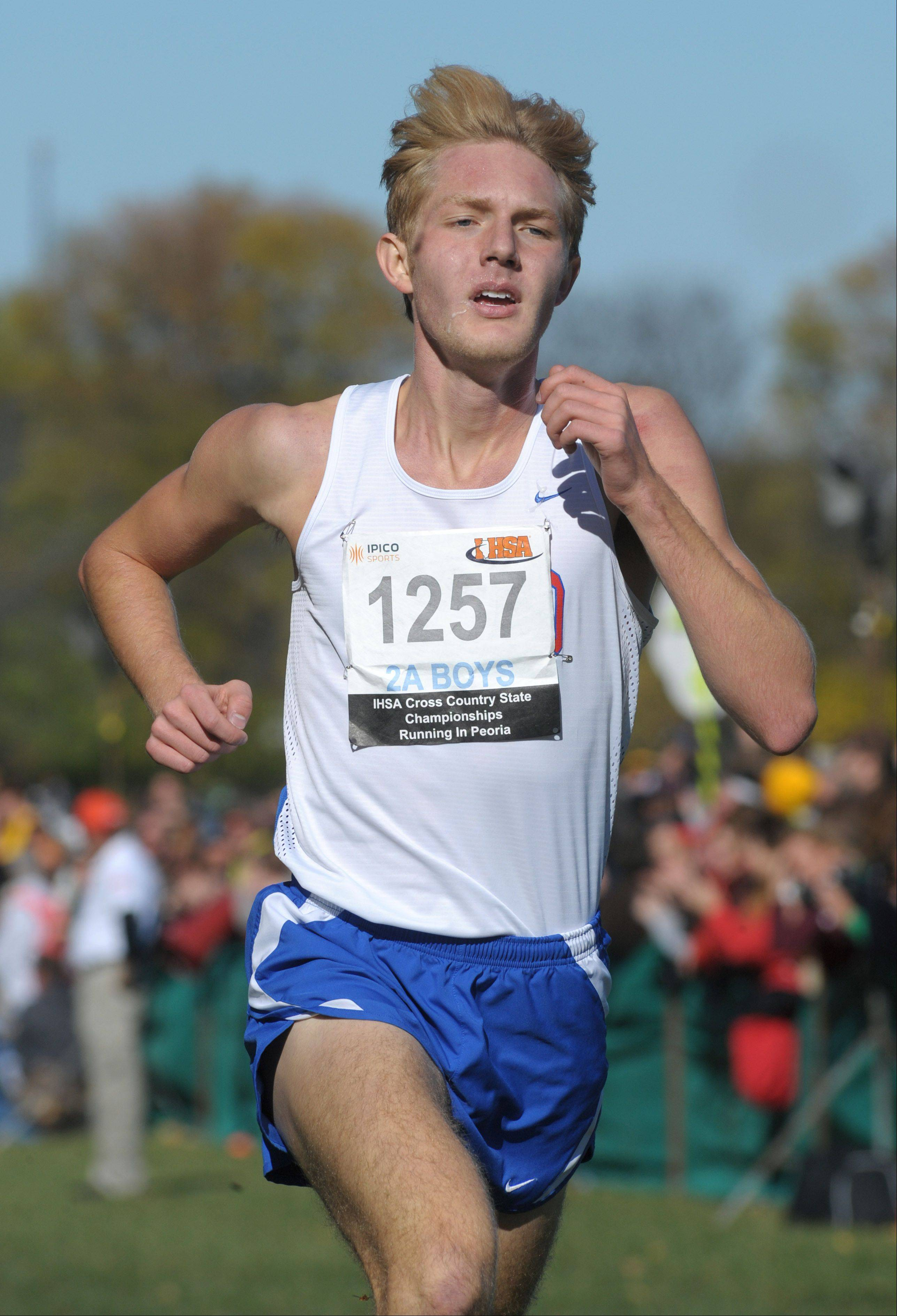 Glenbard South's John Wold takes first place in the Class 2A IHSA cross country state final at Detweiller Park in Peoria on Saturday, November 9.