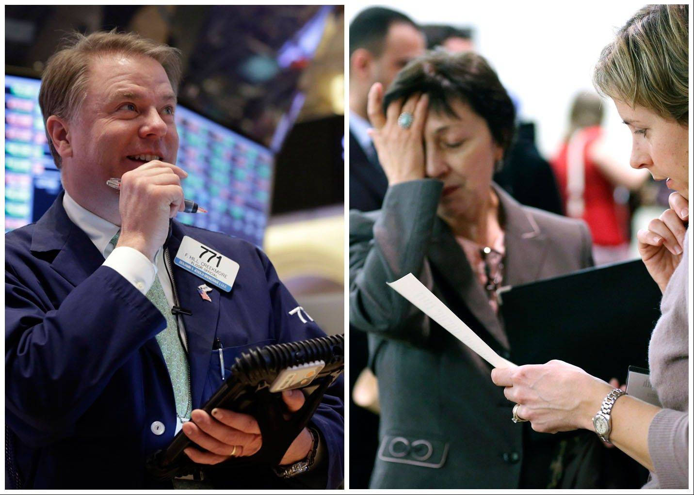 Trader F. Hill Creekmore, left, smiles as he works on the floor of the New York Stock Exchange, and Ann Oganesian, right, pauses as she speaks about job opportunities during a job fair in Boston. The economy is being slowed by a tight job market, scant pay raises and weak business investment. Yet corporate profits are reaching record highs and fueling record stock prices.
