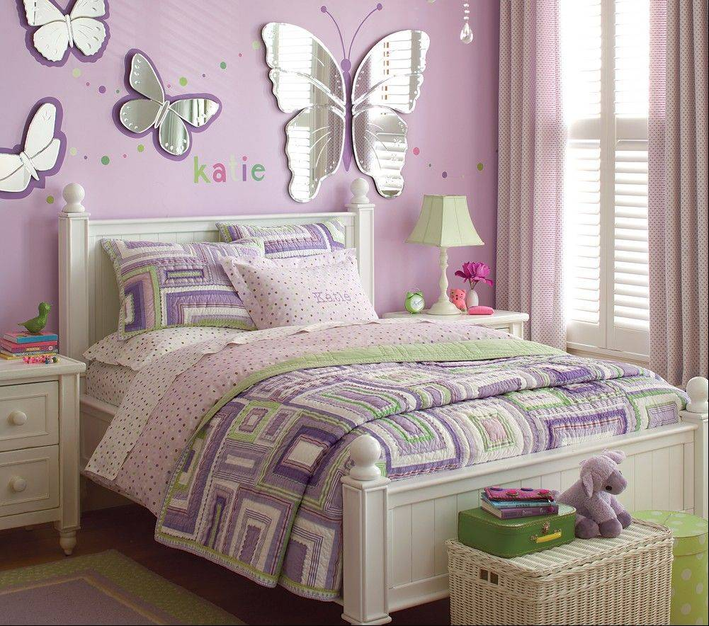 Mirrors cut into whimsical shapes, like butterflies, available at Pottery Barn Kids at Deer Park Town Center, lighten and enlarge a child's room.