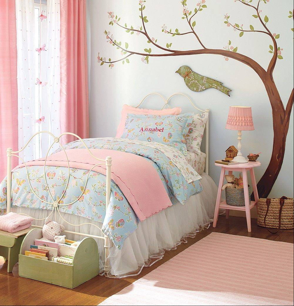 Wall decals, like the tree and bird shown here from Pottery Barn Kids at Deer Park Town Center, offer parents a way to allow kids to help decorate their own rooms, and allow for changes as the child grows.