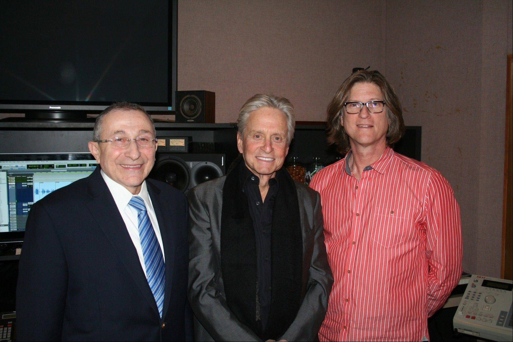 "Rabbi Marvin Hier, from left, actor Michael Douglas and Moriah Films director Richard Trank, at a recording studio in New York. The Wiesenthal Center's Oscar-winning film division issued its 13th historical movie ""The Prime Ministers"" this week."