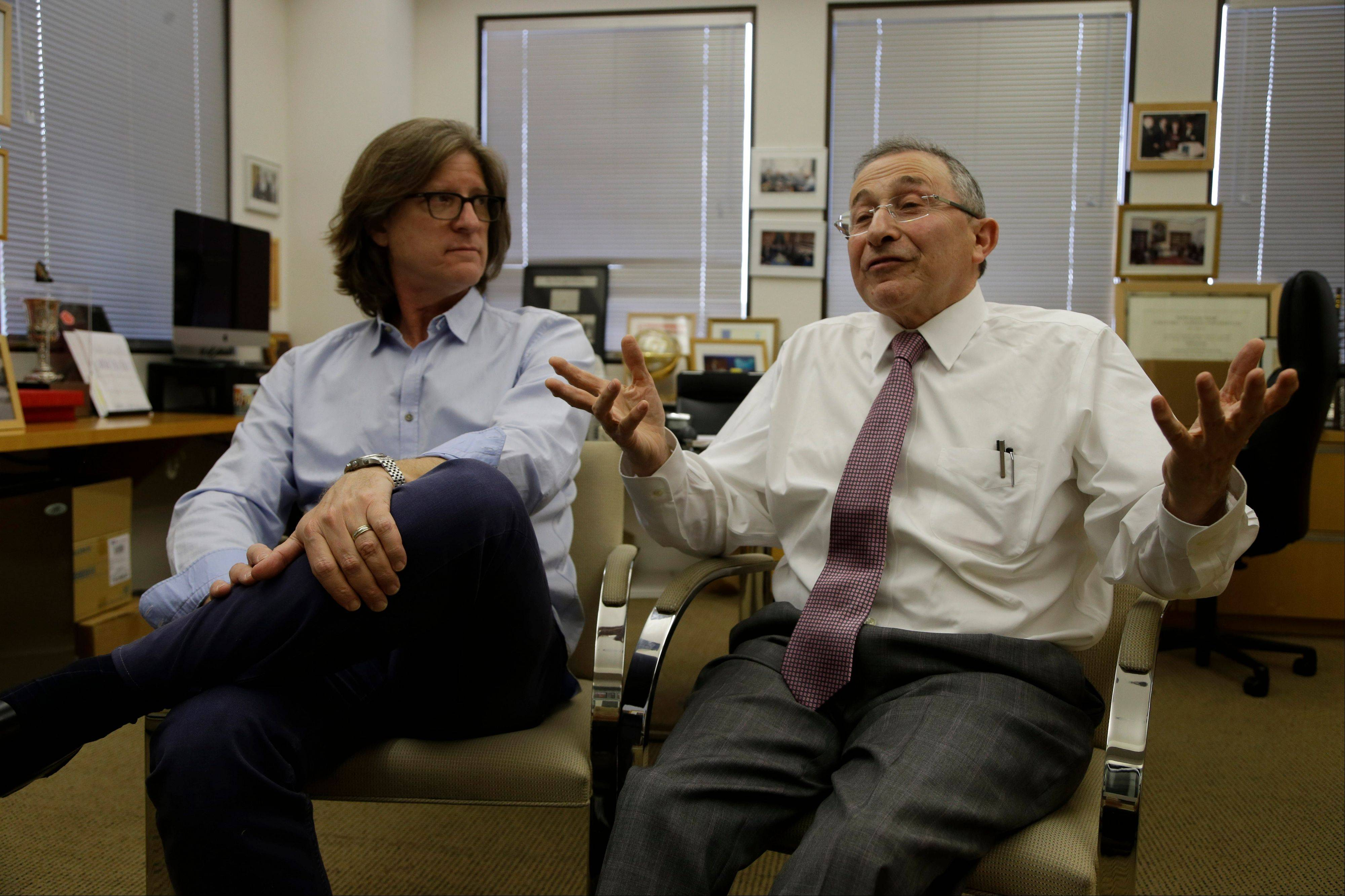 Founder Rabbi Marvin Hier, right, and Moriah Films director Richard Trank during an interview at the Wiesenthal Center in Los Angeles. Hier said it's important for the Wiesenthal Center to put Jewish history on film to reach worldwide audiences for years to come.