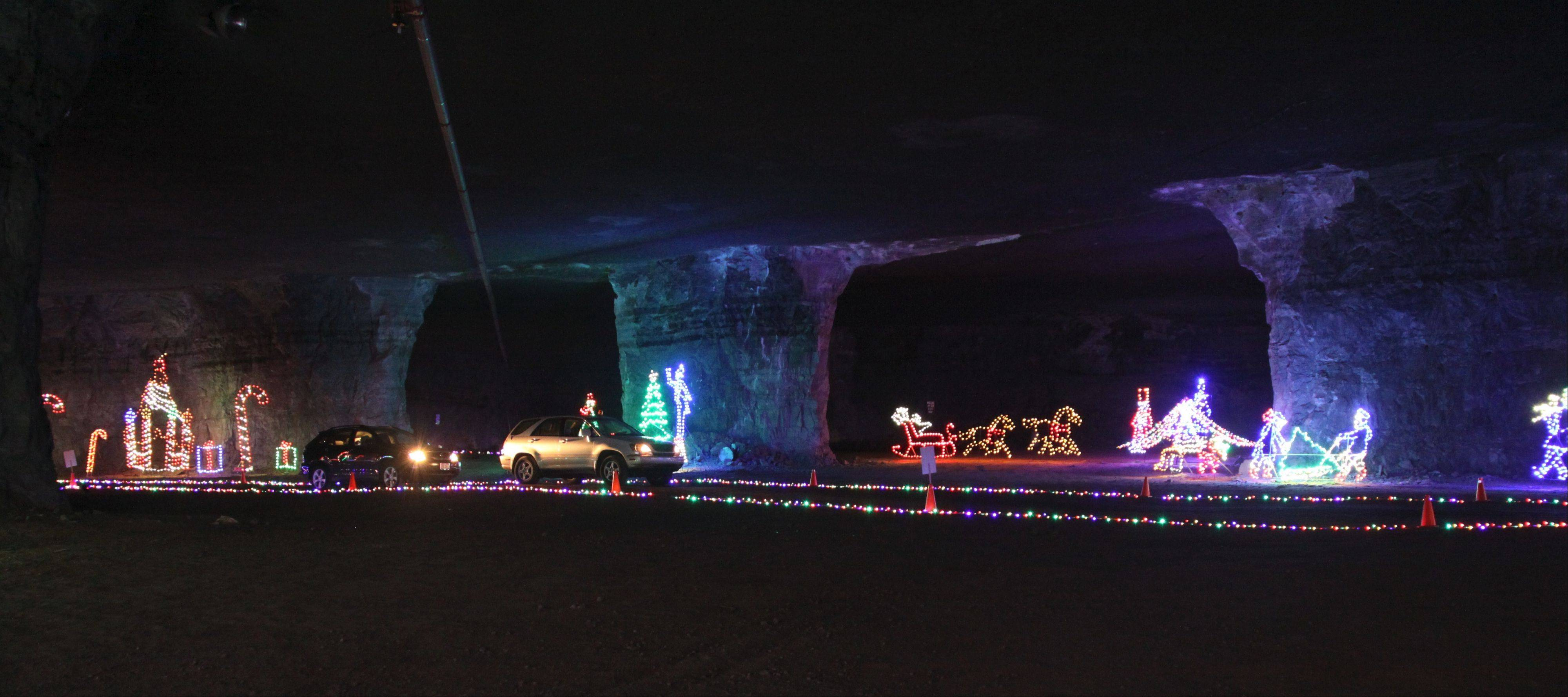 Drive your car through an underground light show in the Louisville MEGA Cavern in Kentucky.