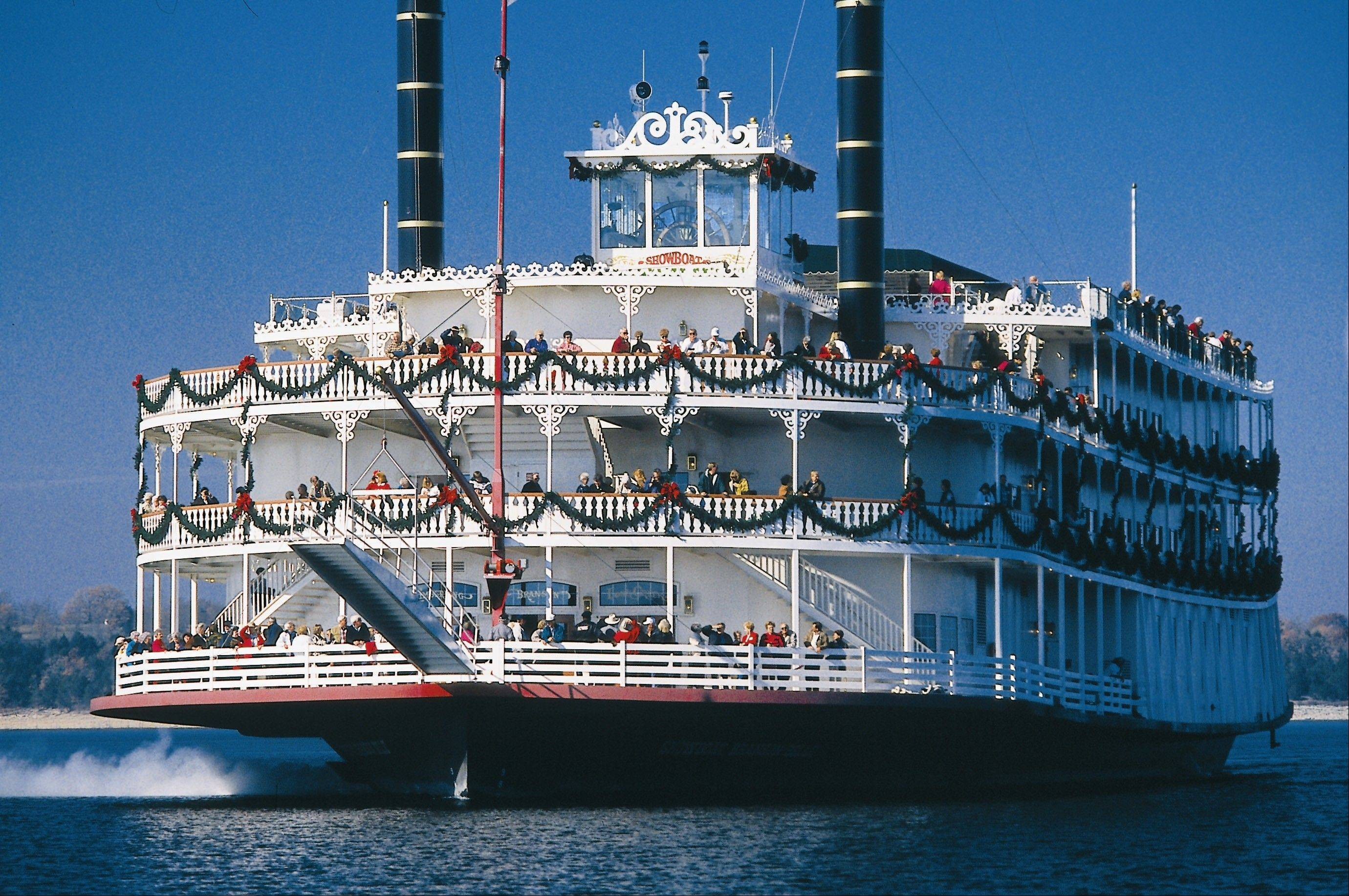 The 700-seat Showboat Branson Belle gets decked out for the holidays for dinner cruises on Table Rock Lake near Branson, Mo.
