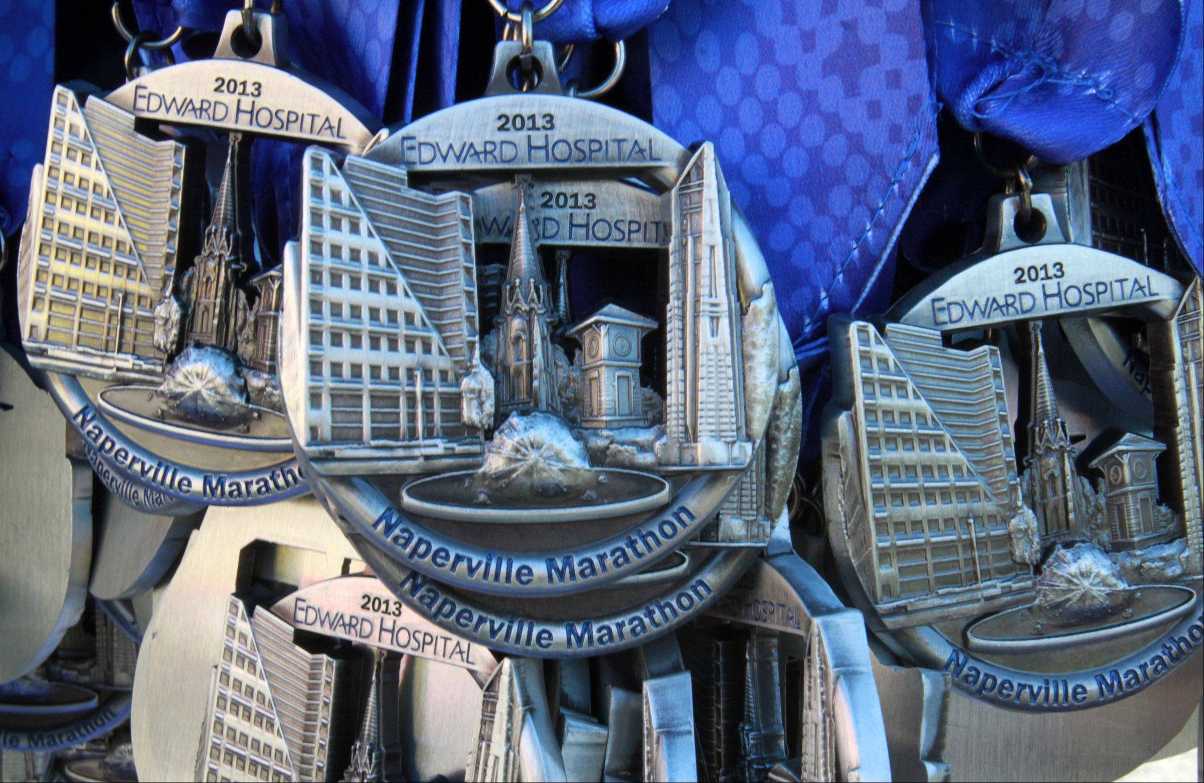 Each runner who completed the Naperville marathon or half marathon received a medal.