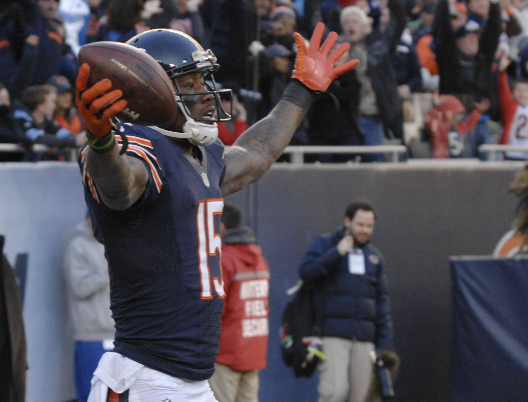 Chicago Bears wide receiver Brandon Marshall celebrates his 4th quarter touchdown during the Bears 21-19 loss to the Detroit Lions.