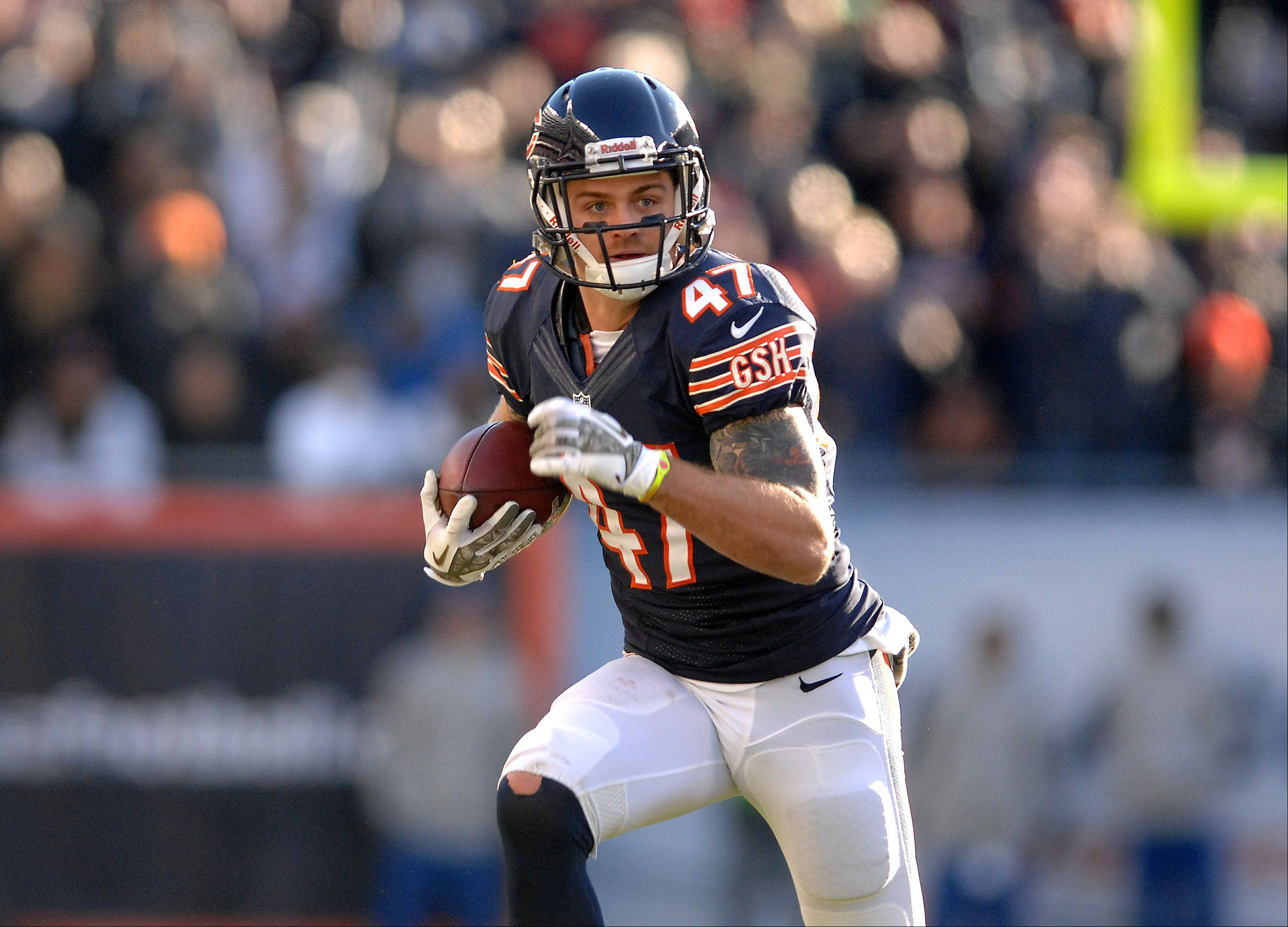 Chicago Bears free safety Chris Conte (47) finds plenty of room to run after his fourth quarter interception during Sunday's game in Chicago.