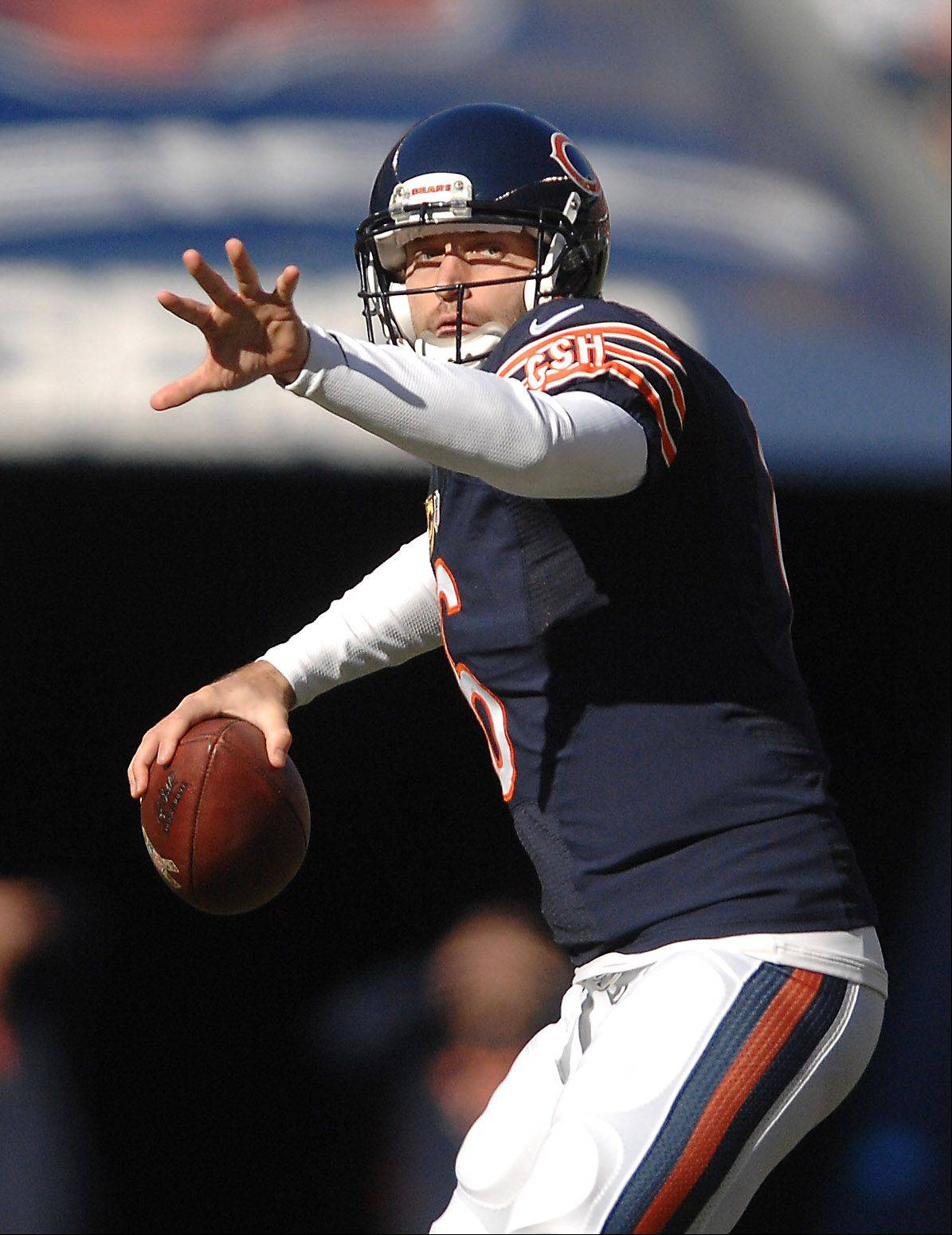 Chicago Bears quarterback Jay Cutler (6) fires a strike to Brandon Marshall for a touchdown on his first series back after injury against Detroit during Sunday's game in Chicago.
