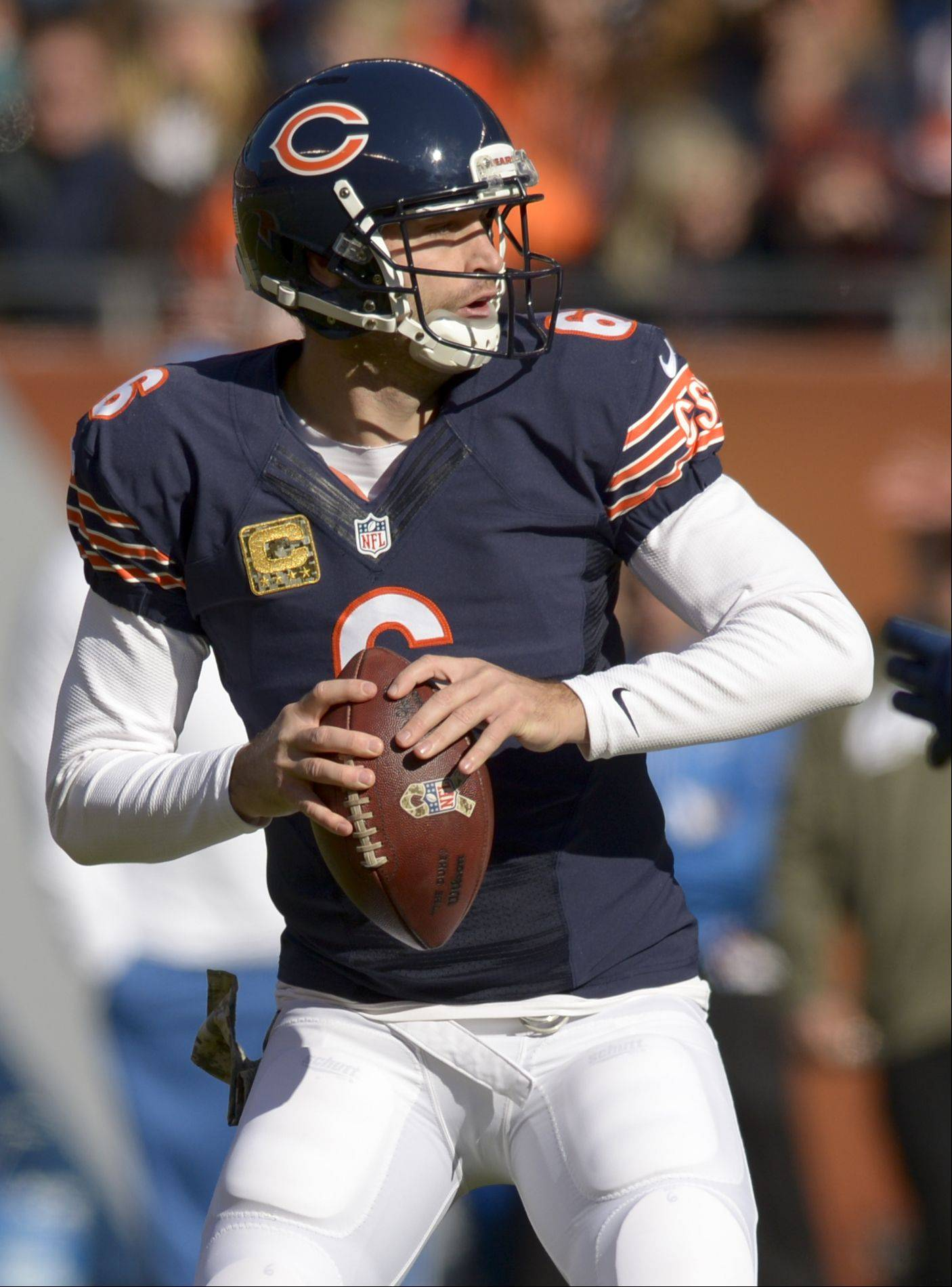 Chicago Bears quarterback Jay Cutler looks for an open man during the first half of the Bears 21-19 loss to the Detroit Lions at Soldier Field, Sunday.