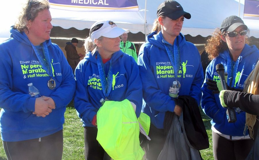 Three nurses and one other runner stopped during the half marathon Sunday in Naperville to help resuscitate a man who had collapsed at about Mile 6. Merri Lazenby, an emergency room nurse at Delnor Hospital in Geneva; Traci Iarrobino, a nurse at Edward Hospital in Naperville; Amy Prendel, who works at North Central College; and Stephanie Chang, an emergency room nurse at Edward Hospital, performed CPR on the man, called 911 and stayed with him until he was breathing and talking again.