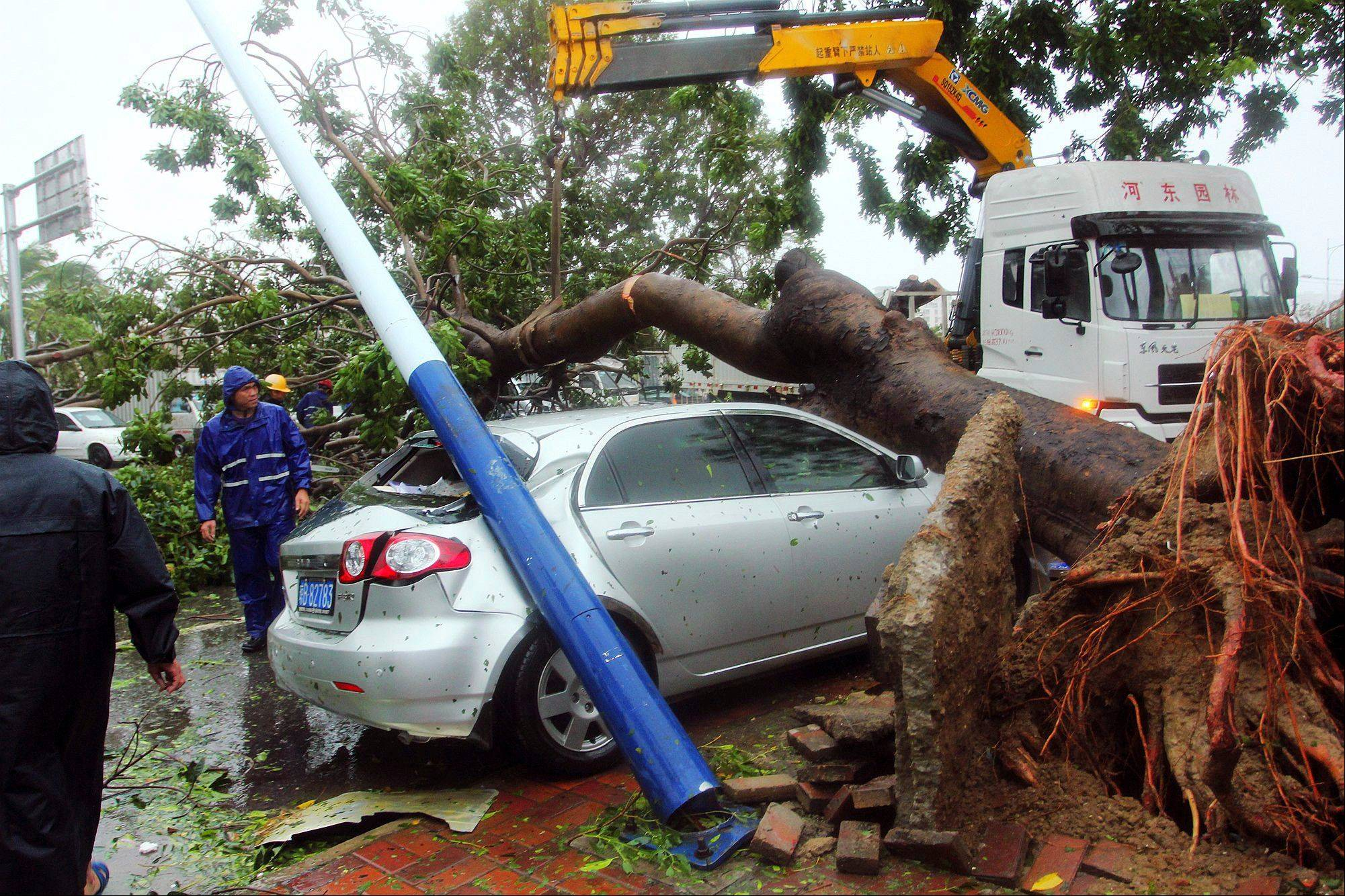 Workers remove a tree that on a car in the aftermath of Typhoon Haiyan after it made landfall in Sanya in south China's Hainan province Sunday. The deadly Typhoon Haiyan is making its way towards Vietnam and mainland China after devastating parts of Philippines last Friday.