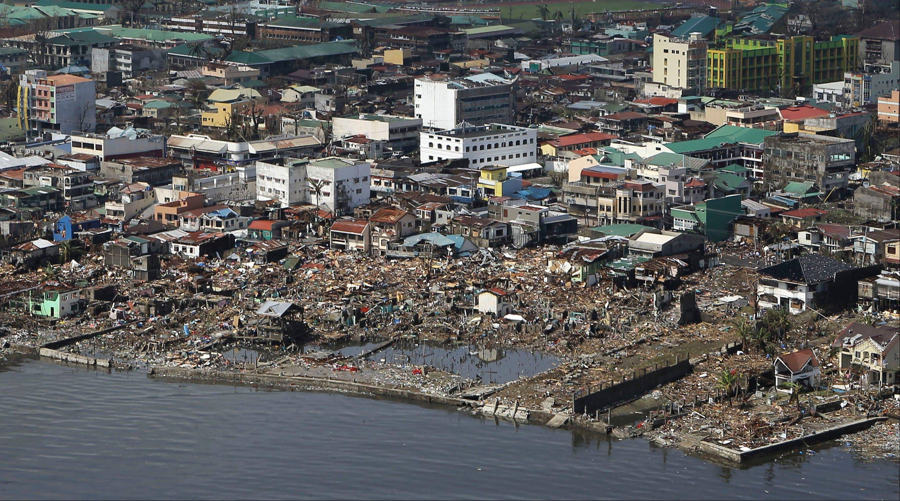The devastation caused by Typhoon Haiyan in Tacloban city, Leyte province in central Philippines. Typhoon Haiyan, one of the most powerful storms on record, slammed into six central Philippine islands on Friday, leaving a wide swath of destruction and scores of people dead.