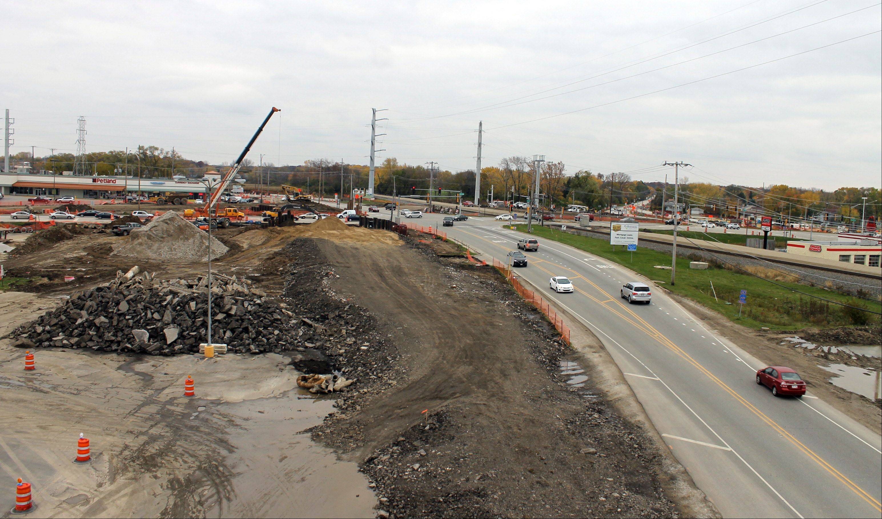 A Work Zone Cam view looking south along Route 83 toward Rollins Road in Round Lake Beach. The largest and most complicated project undertaken by Lake County will separate the congested intersection from train traffic.