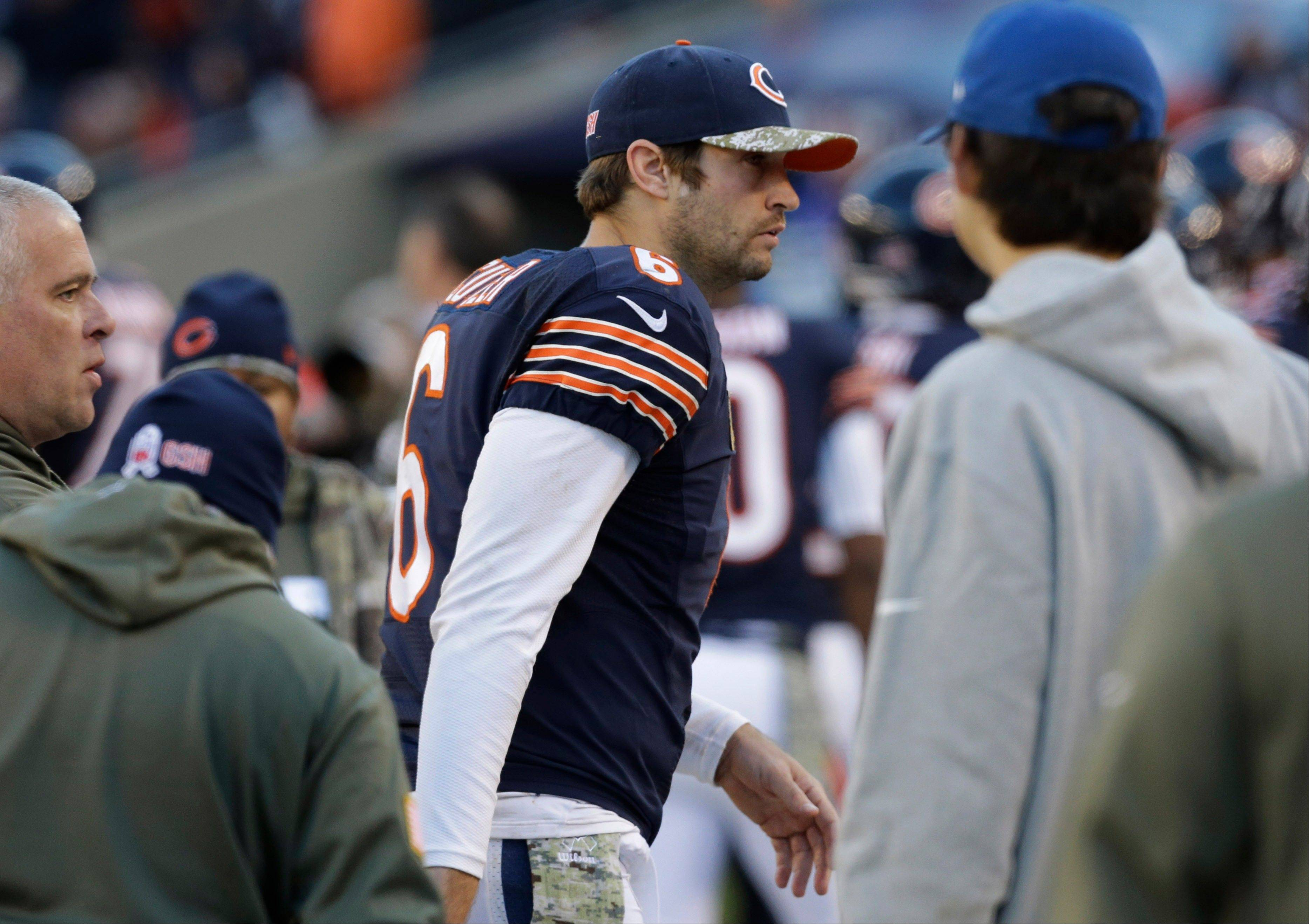 Bears quarterback Jay Cutler walks on the sidelines during the second half of an NFL football game against the Detroit Lions, Sunday, Nov. 10, 2013, in Chicago. The Lions won 21-19.