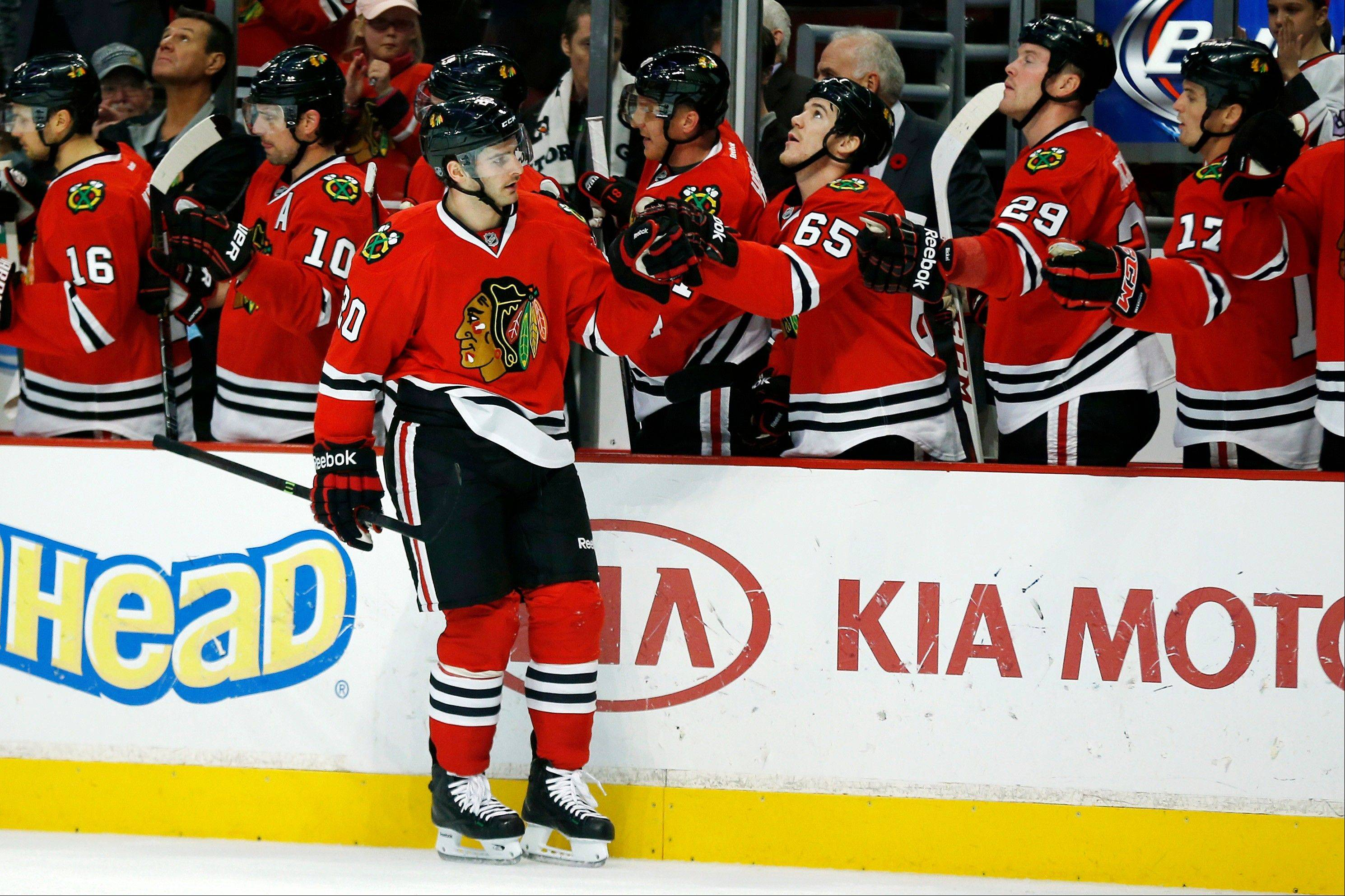 The Blackhawks� Brandon Saad celebrates after scoring a goal in Sunday�s 5-4 victory over the Edmonton Oilers at the United Center.