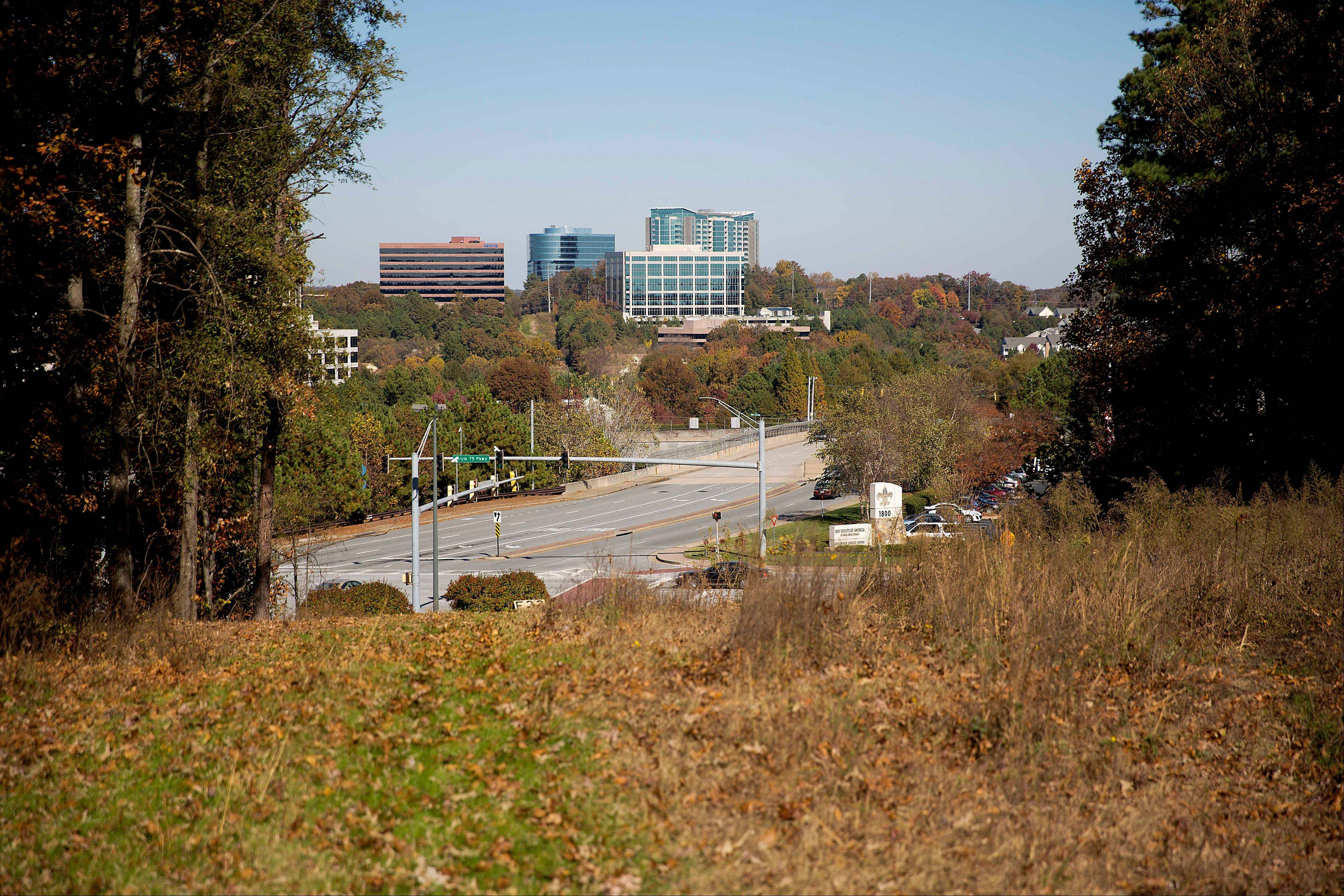 Undeveloped land stands in the area where a new suburban stadium will be built for the Atlanta Braves.