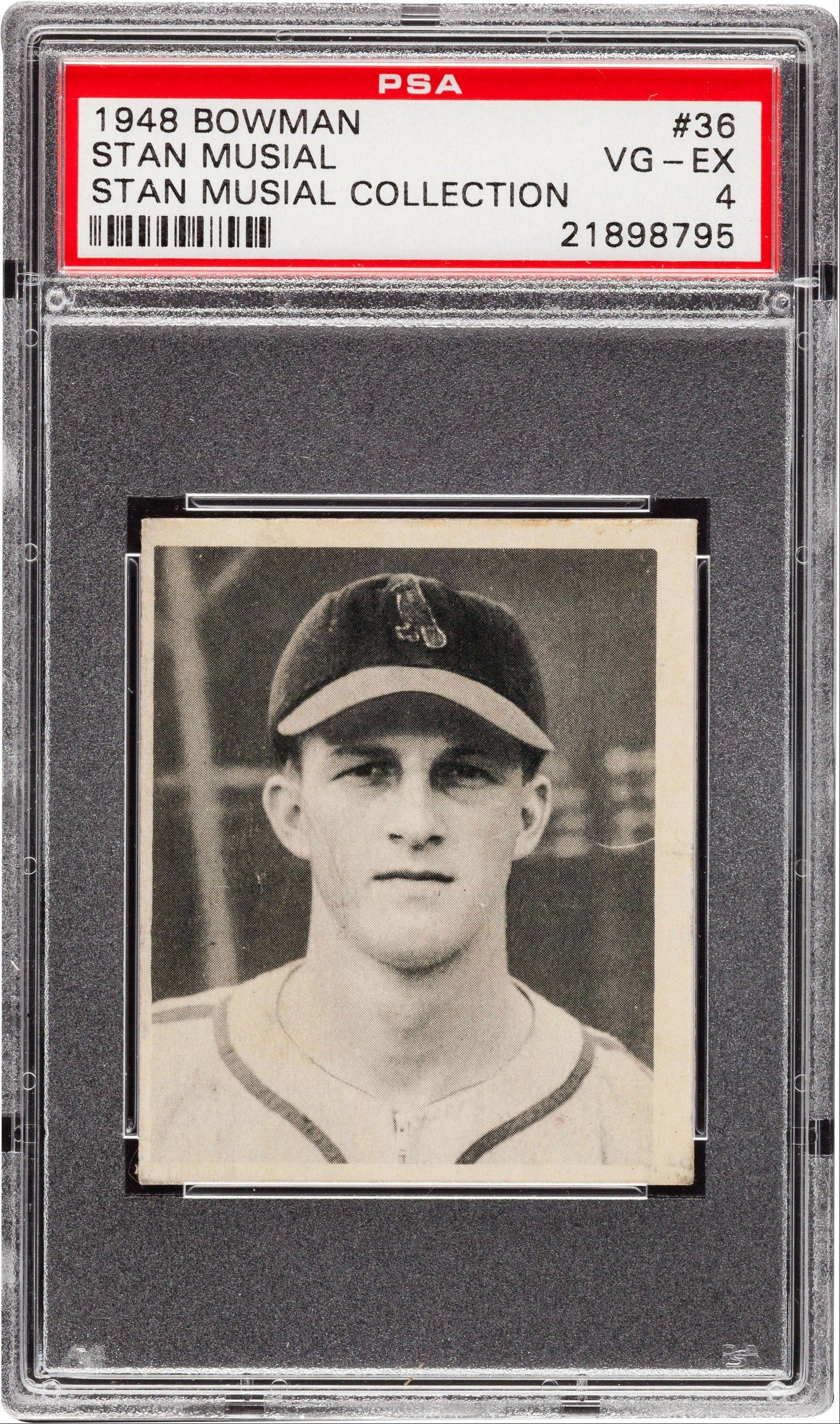 Stan Musial�s personally owned 1948 Bowman rookie baseball card sold for $11,950 at auction. Musial died in January at age 92.