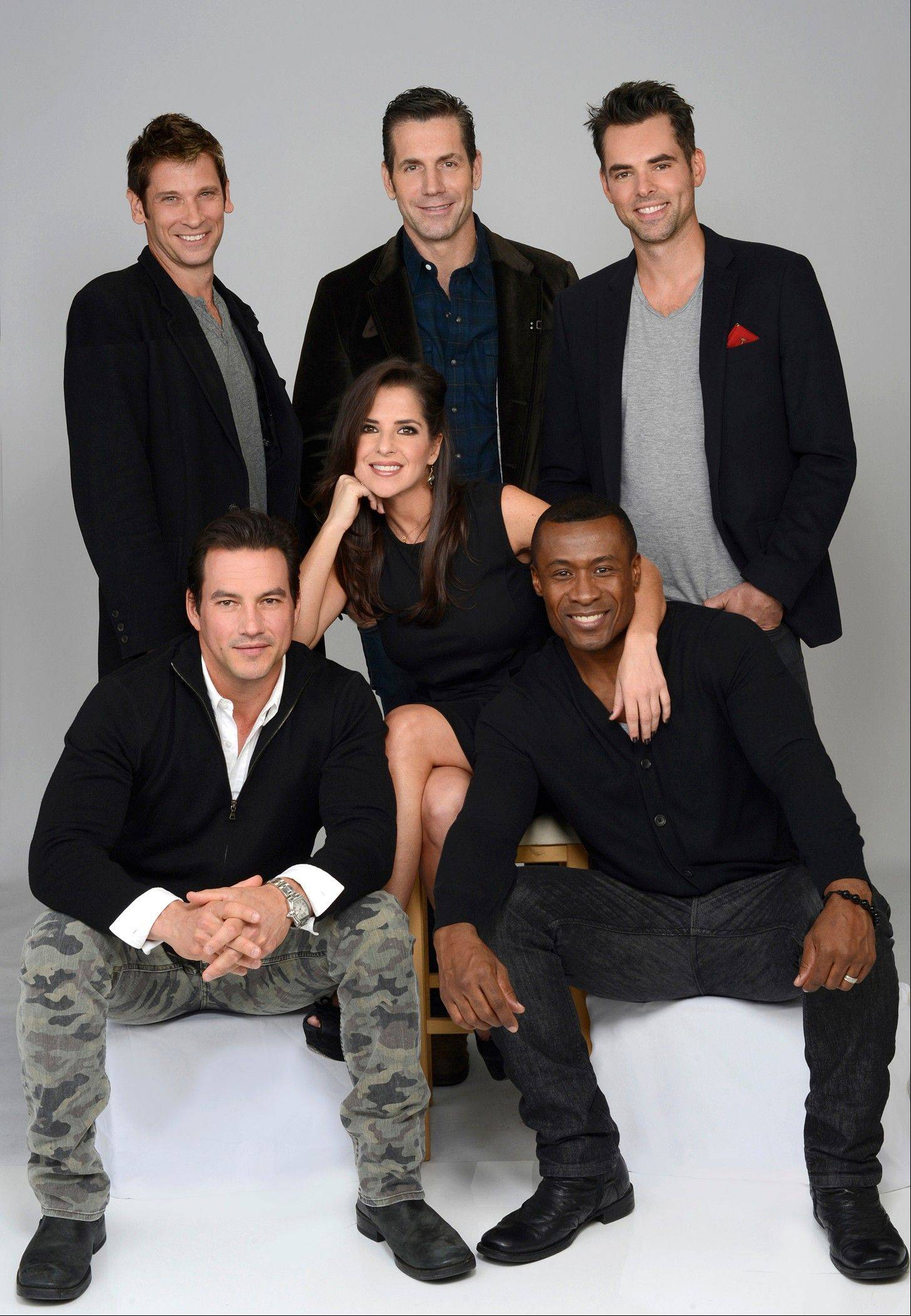 """General Hospital"" actors Kelly Monaco, center, with, clockwise from front row left, Tyler Christopher, Roger Howarth, Executive Producer Frank Valenti, Jason Thompson and Sean Blakemore in New York. The popular daytime drama celebrates it's 50th anniversary this year."