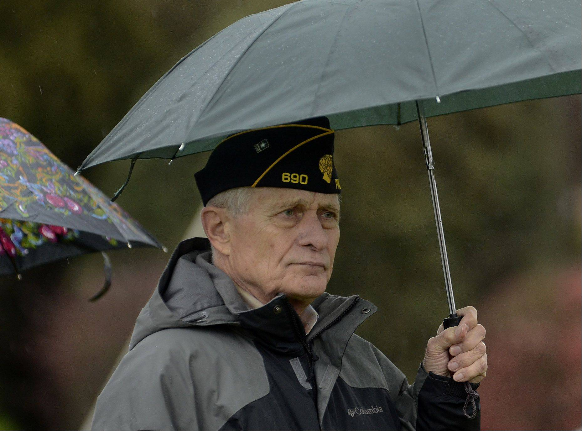 Army veteran Joe Kosinski of Palatine braves the weather to attend the Palatine Veterans Day observance at Community Park.