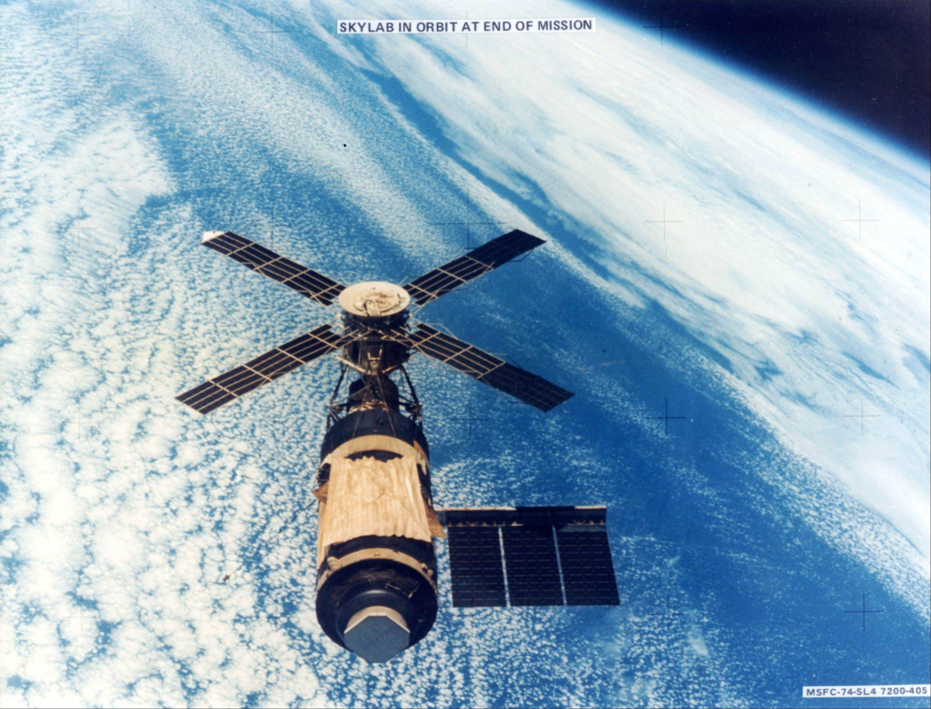 This is a 1979 file image of Skylab, at the end of its mission in 1979 when it crashed back to Earth. Skylab was the first United States manned space station and was launched on May 14, 1973. It is now regarded as one of the best-known of falling satellites, re-entering the atmosphere in 1979. About 82 tons hit the Earth -- some of it in Australia and the rest falling into the Indian Ocean.