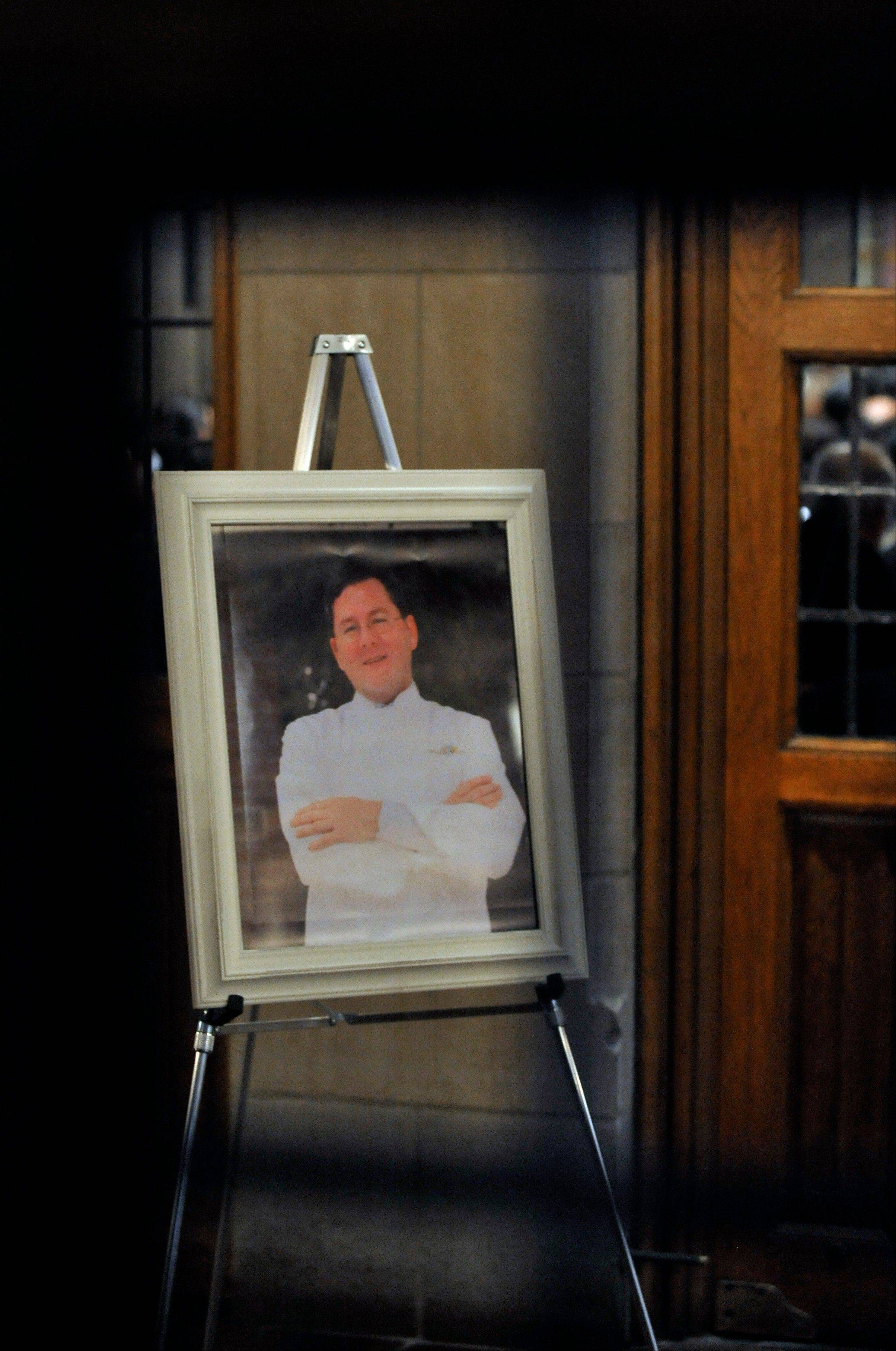 A portrait of celebrity chef Charlie Trotter was displayed in the lobby of the Fourth Presbyterian Church during his memorial on Monday in Chicago.