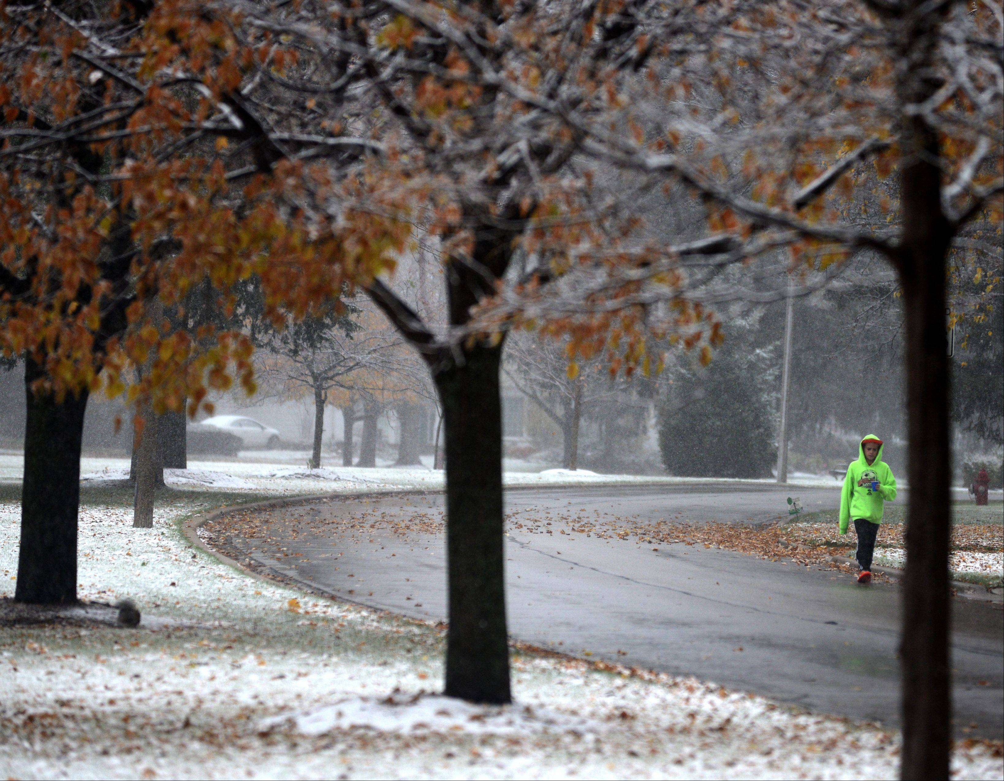 Bryan Morrison, 11, walks along South Windsor Drive in Arlington Heights as the snow begins to gather on Monday afternoon.
