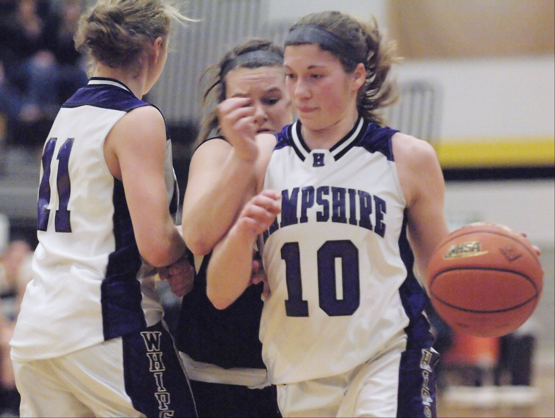 Hampshire graduate Jen Dumoulin (10) will be a key player for the Elgin Community College women's basketball team this season.