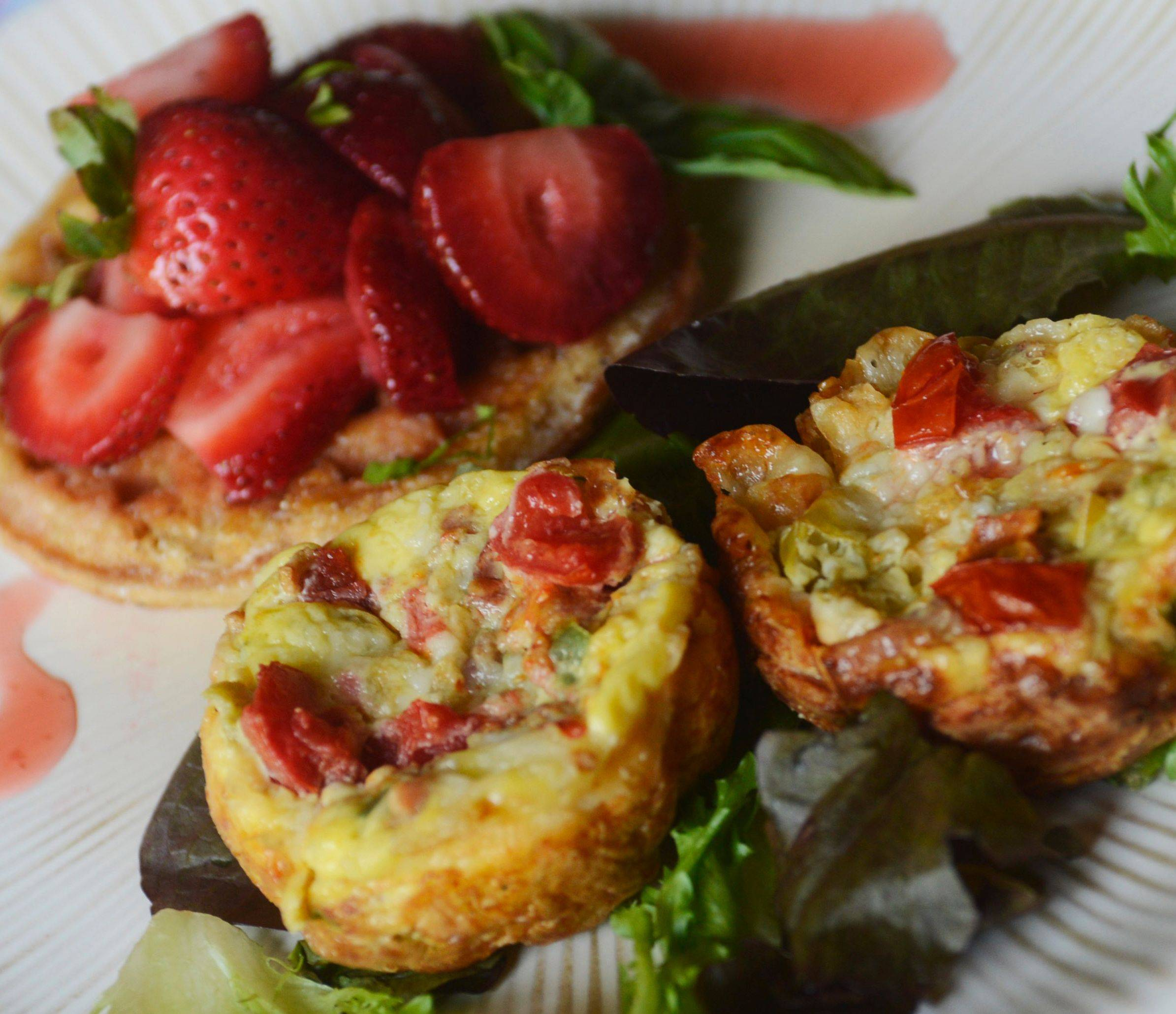 Egg, Green Chilli and Gruyere Strata with Frozen Waffle Bruschetta