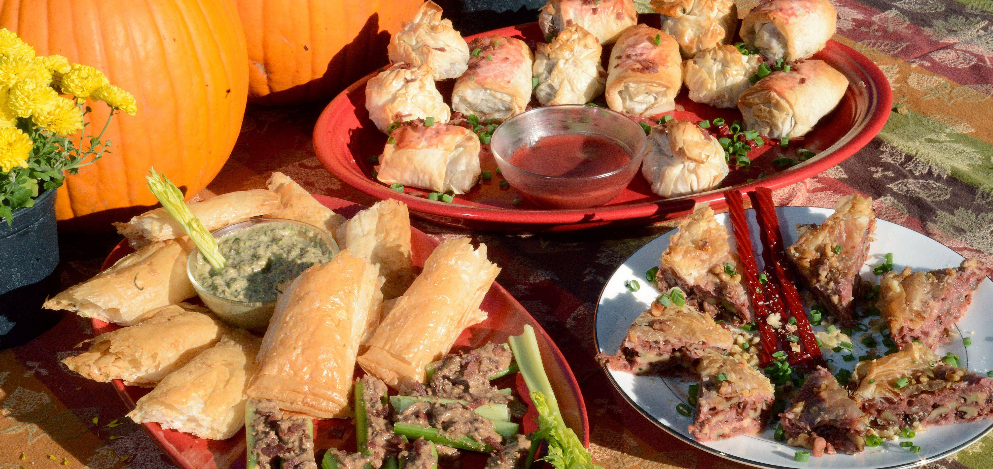 Almond Butter and Bacon-Stuffed Celery Boats; Phyllo Bombs (with Twisted Tops) and Beef Wellington with Almond Butter Pate, both served with a Twizzler Port Sauce; and Savory Baklava