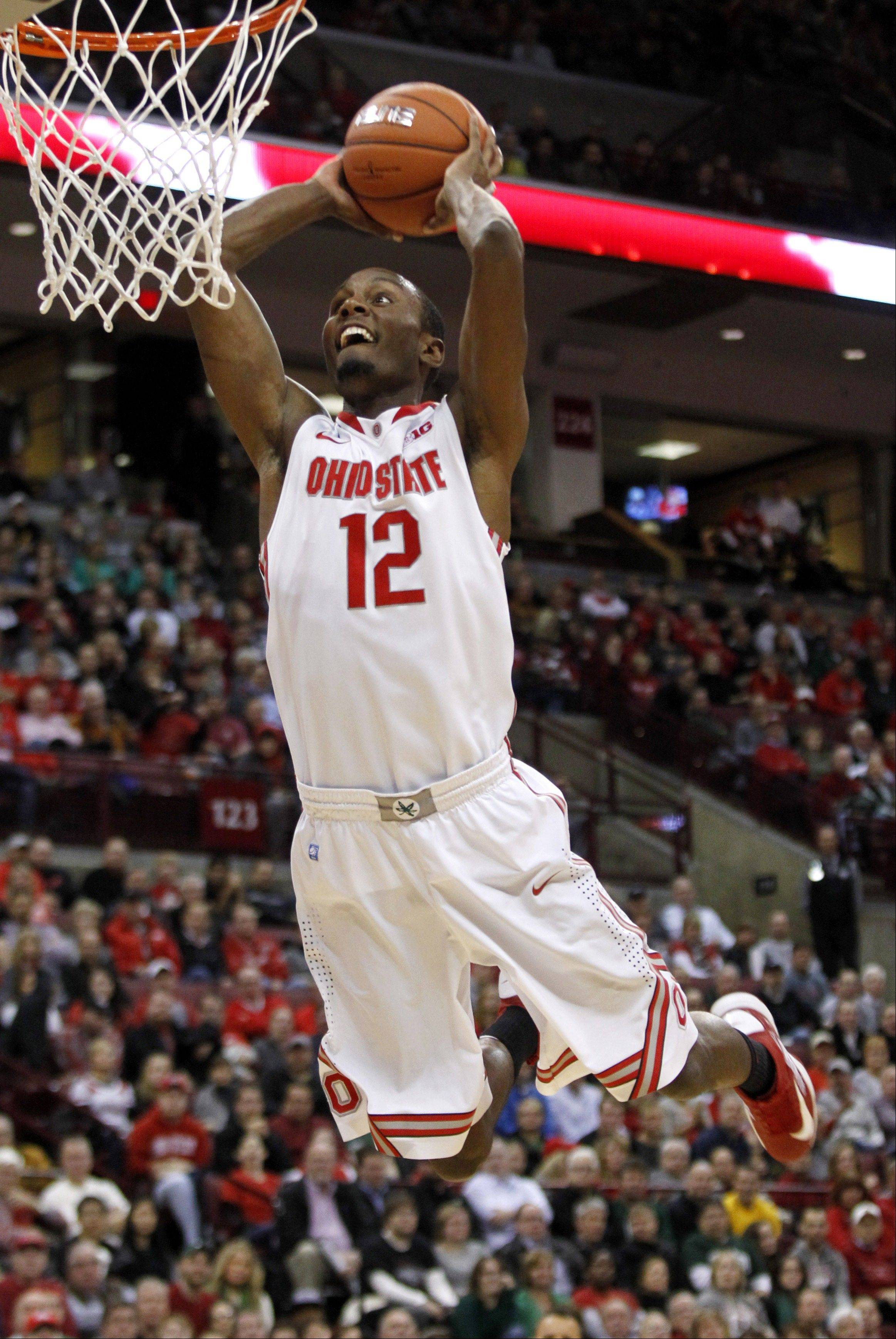 Ohio State�s Sam Thompson goes up for a dunk against Ohio during the first half of Tuesday�s game in Columbus.