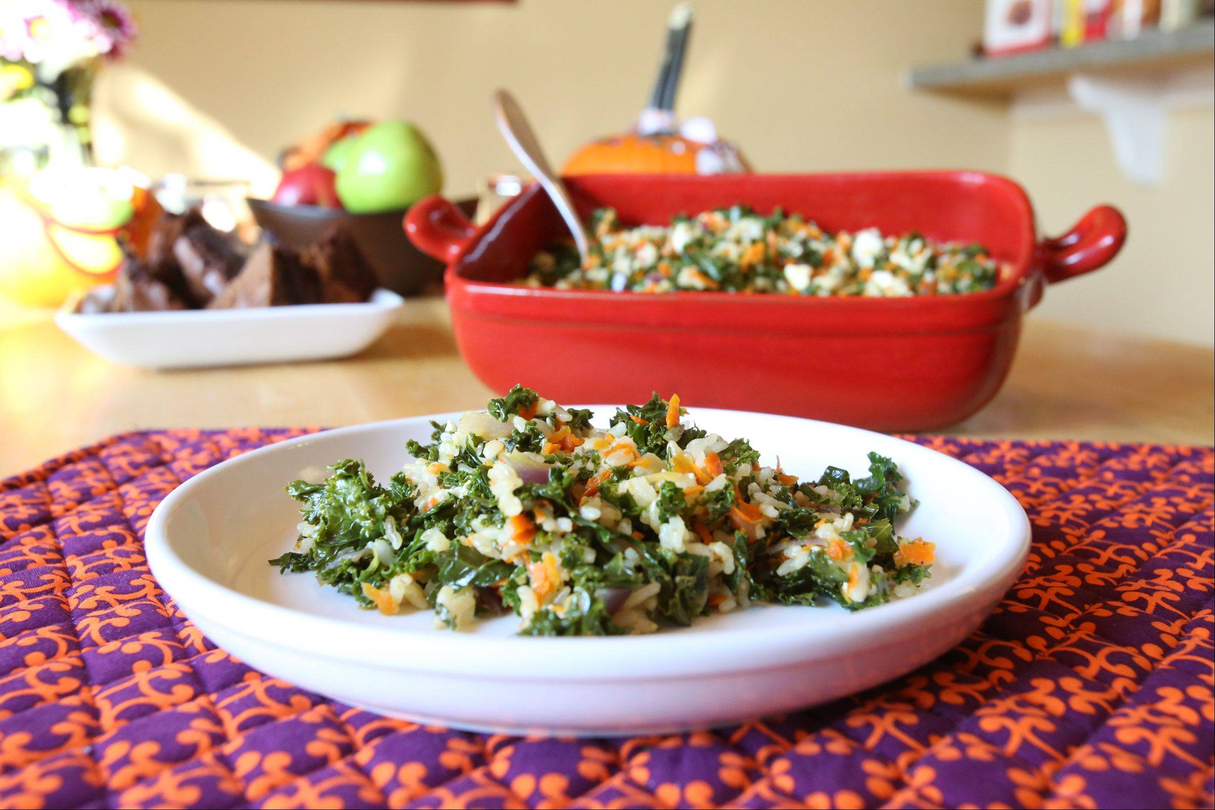 Christine Gallup's sauteed kale rice in a nutrient-rich dinner.