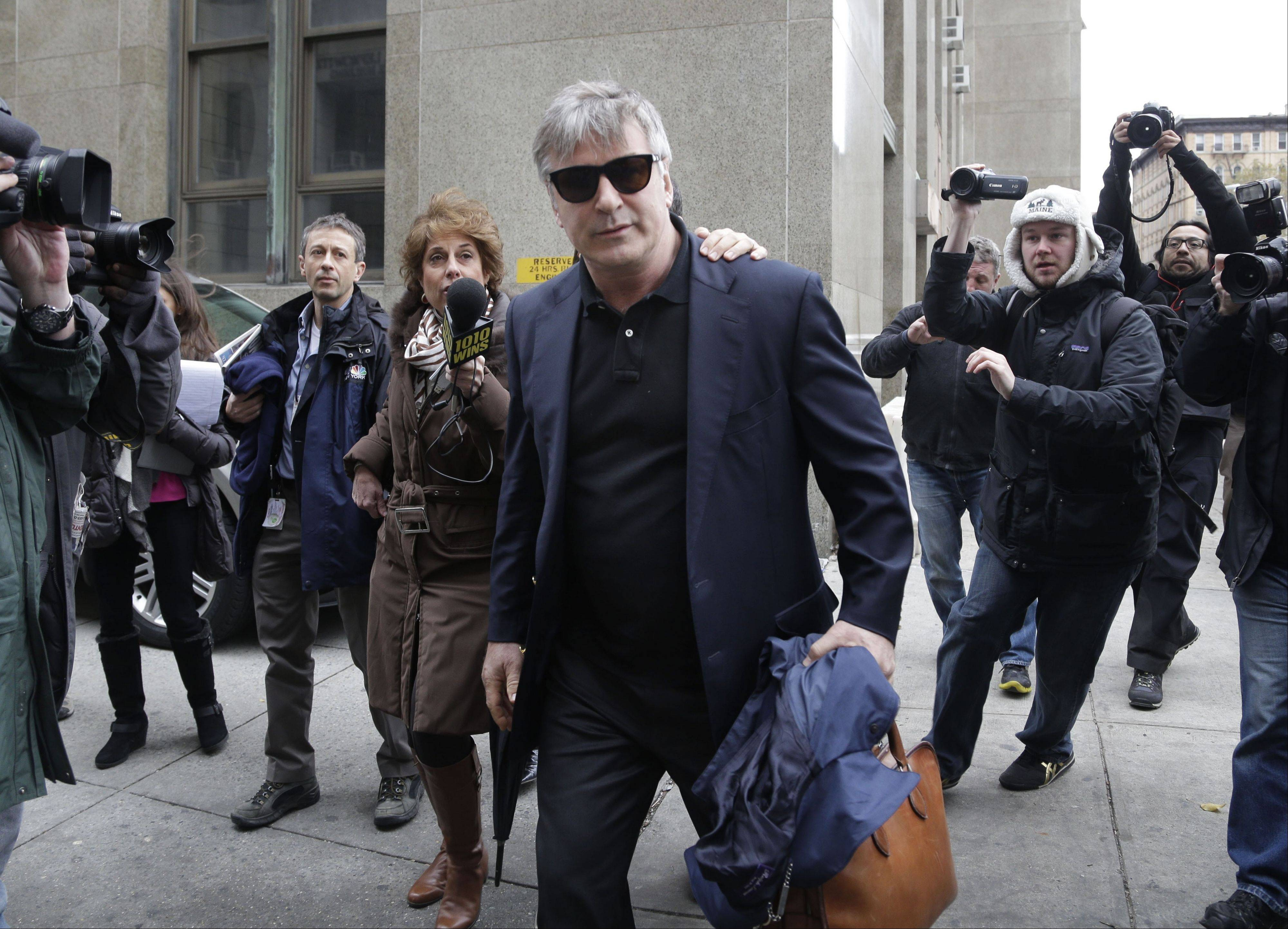 Actor Alec Baldwin leaves criminal court Tuesday in New York.