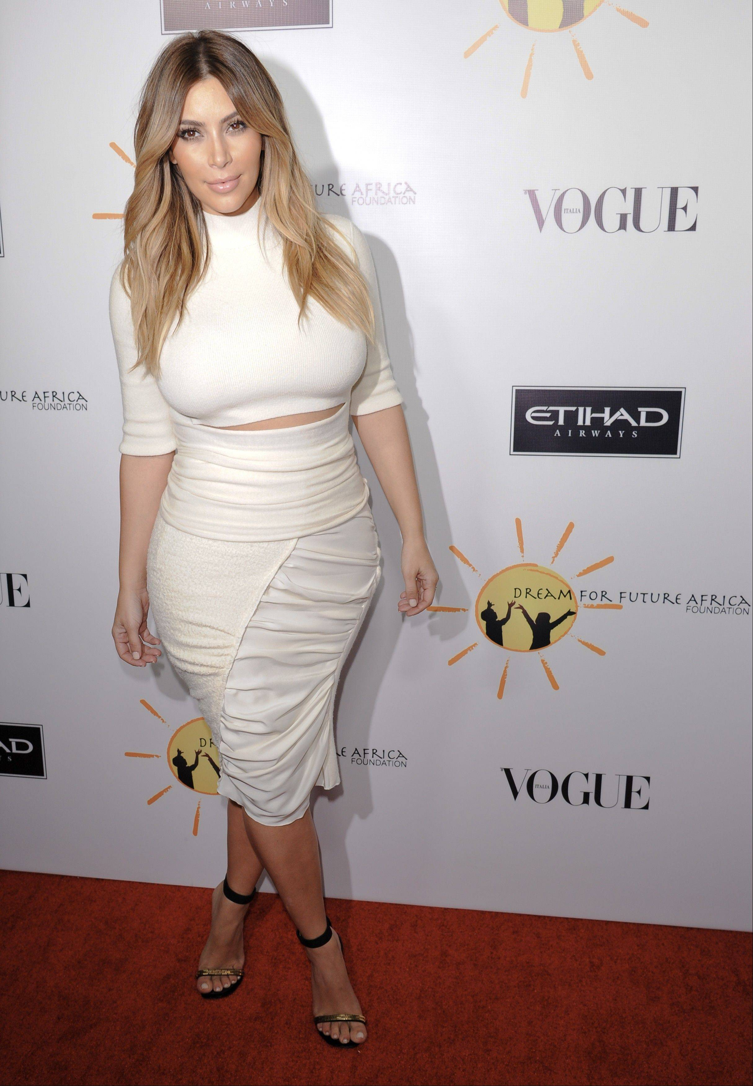 Kim Kardashian arrives at the inaugural Dream for Future Africa Foundation Gala at Spago in Beverly Hills, Calif.