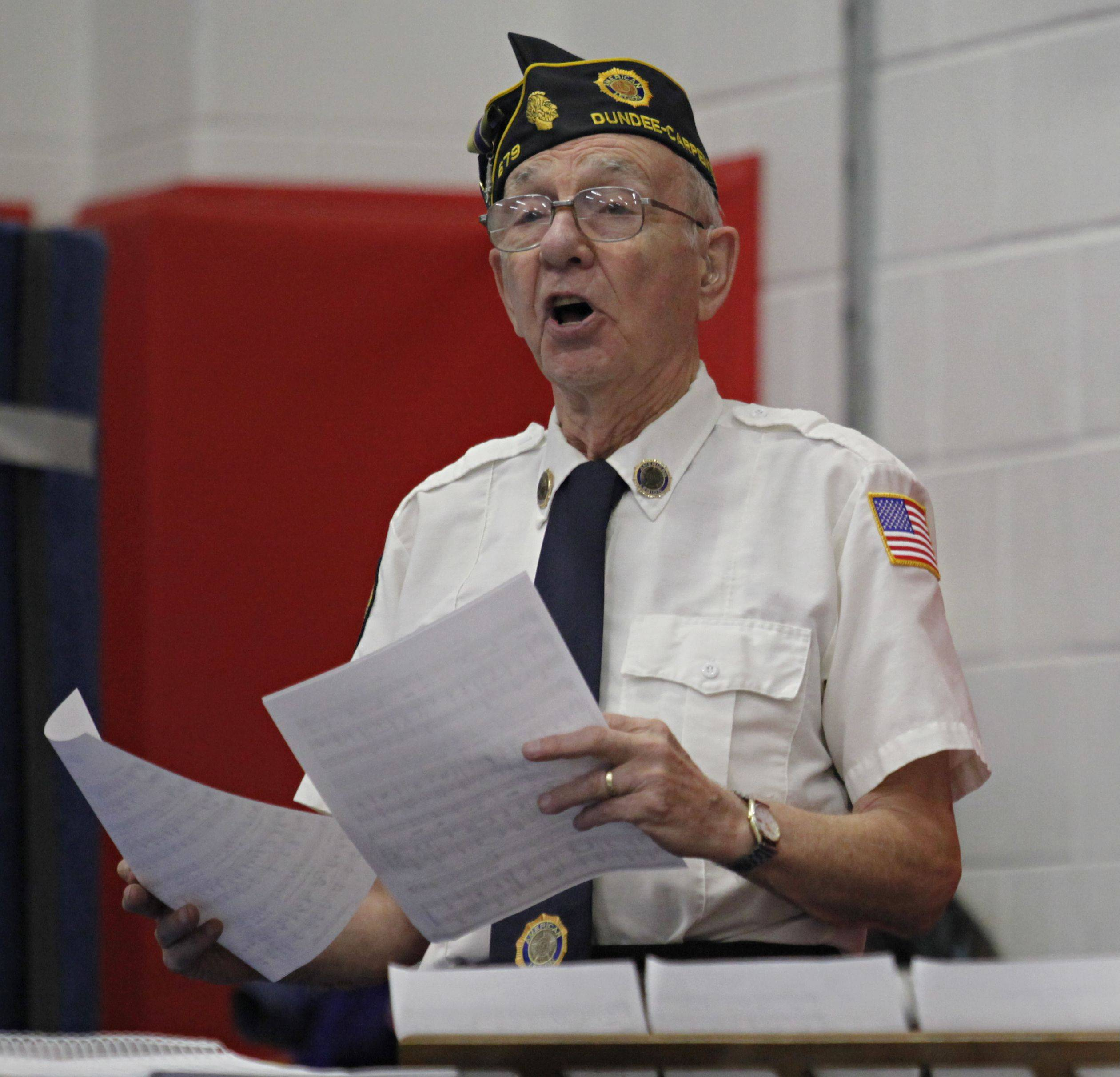 "Larry Zea of the American Legion Post 679 sings ""God Bless America"" as part of the ceremony Monday in Carpentersville."