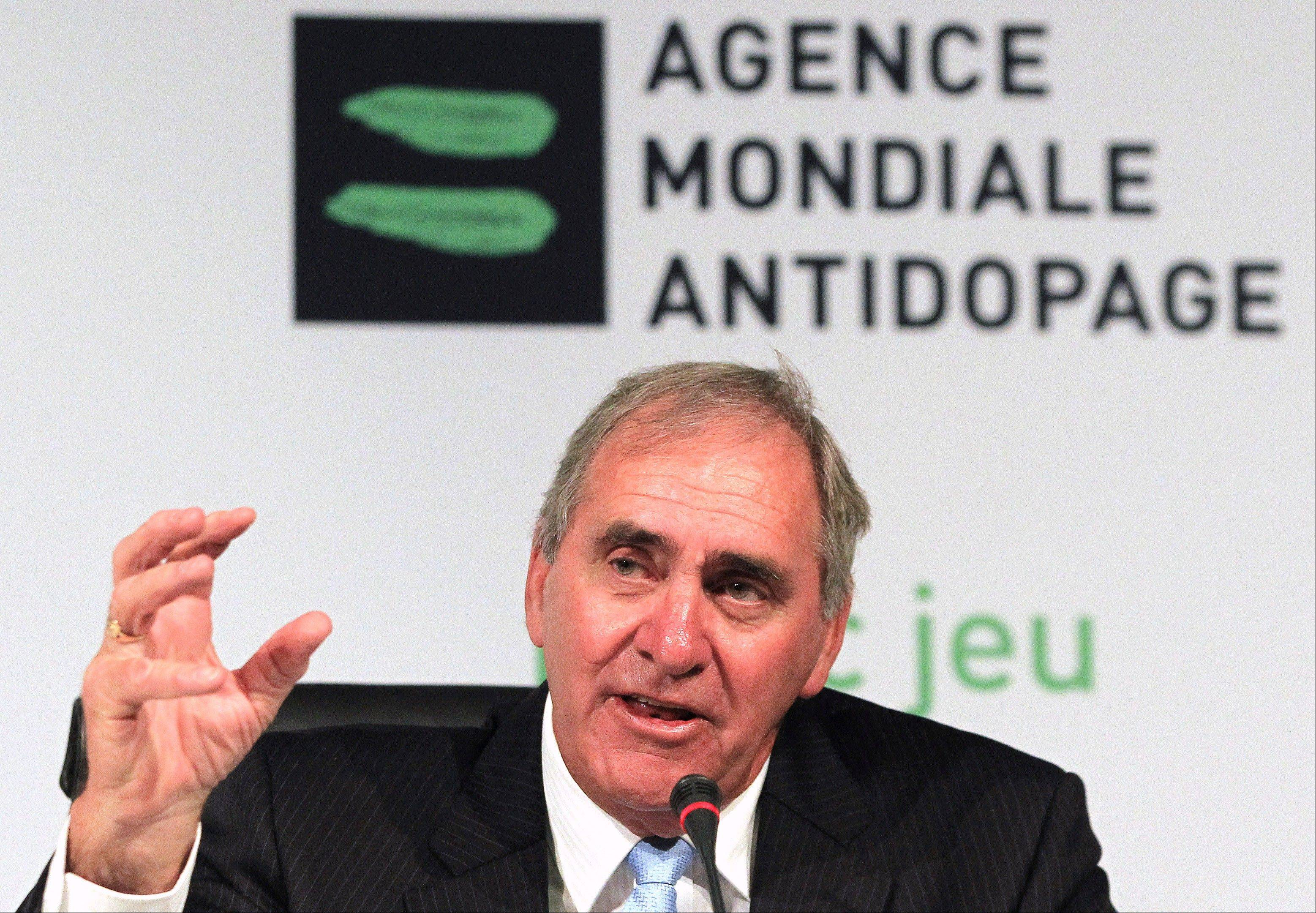 "John Fahey, president of the World Anti-Doping Agency, speaks during a news conference Tuesday in Johannesburg, South Africa. Fahey says he is confident that cycling's new leadership will set up an independent commission ""within weeks"" to look at the sport's drug-stained past."
