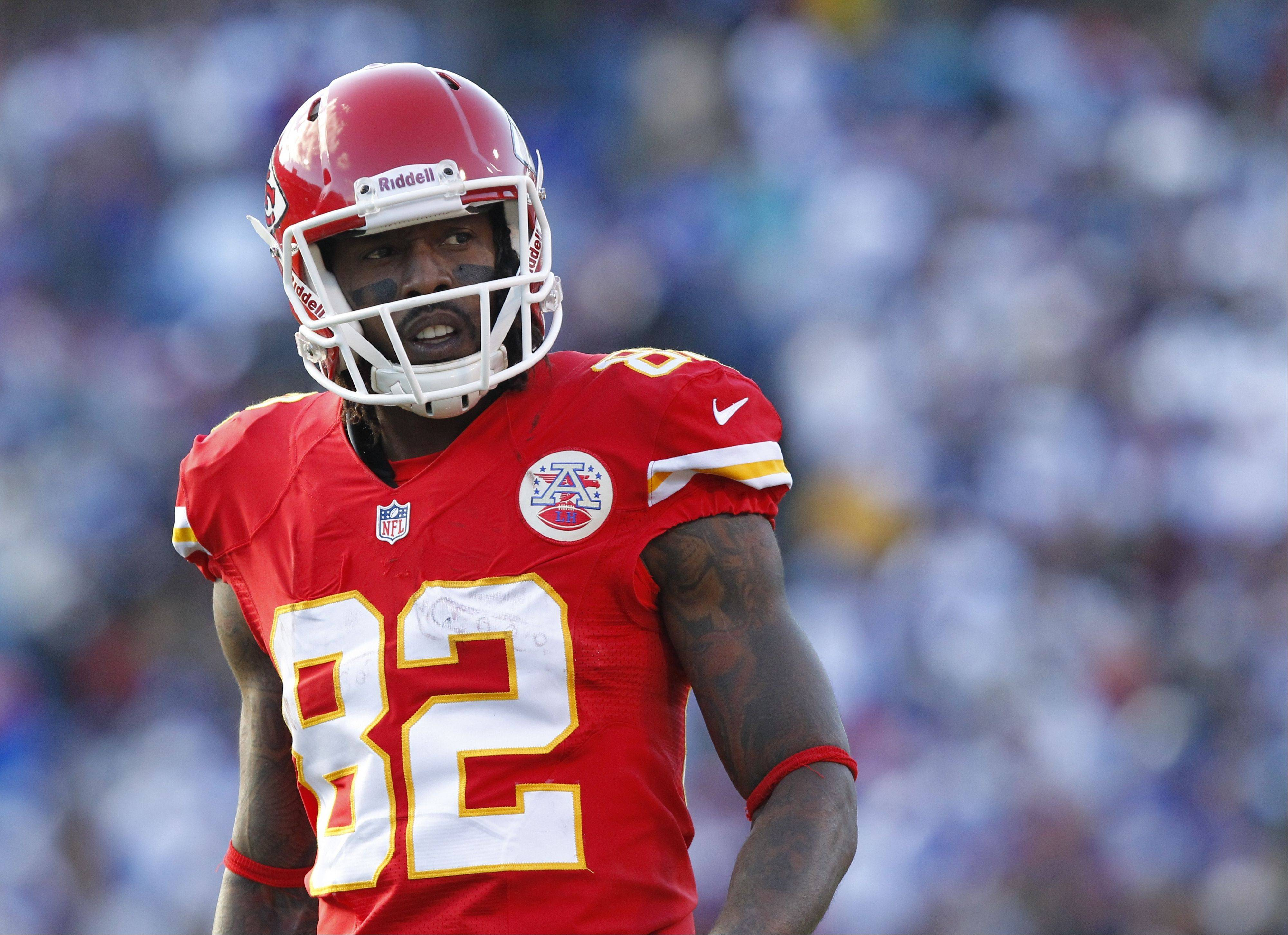Kansas City Chiefs Dwayne Bowe prepares to play against the Buffalo Bills in Orchard Park, N.Y. Bowe was arrested outside Kansas City over the weekend on charges of speeding and possessing marijuana, authorities said Tuesday.