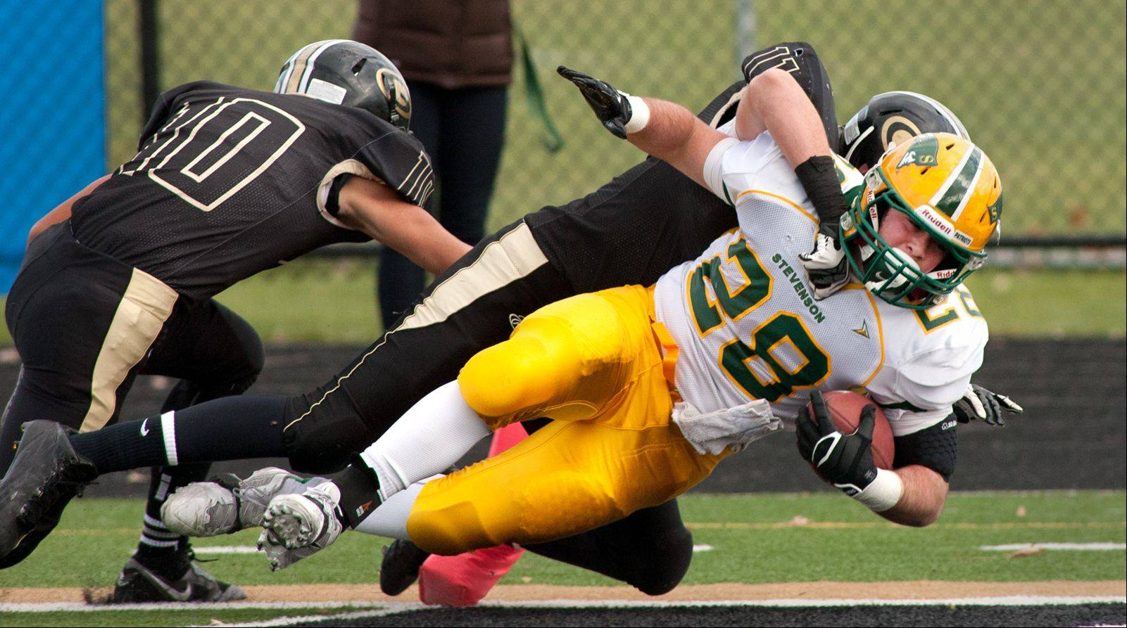 Stevenson's Jack Joseph scores a first-half touchdown for the Patriots on Saturday.