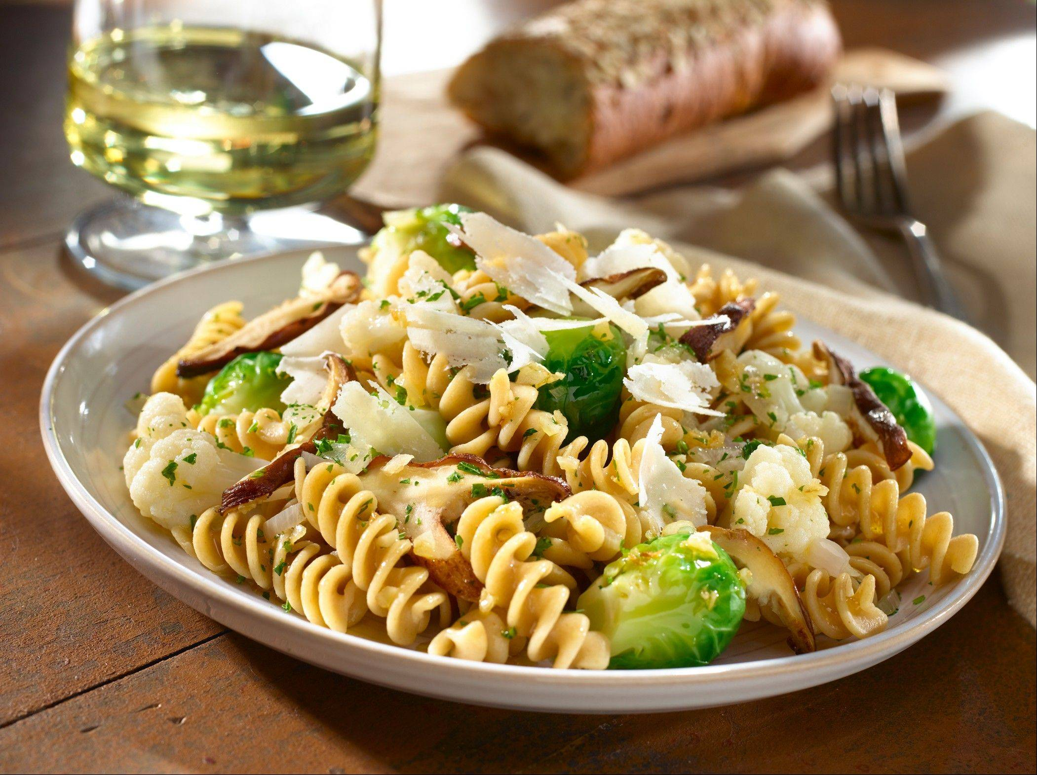 Brussels sprout, Cauliflower and Shiitake Fusilli