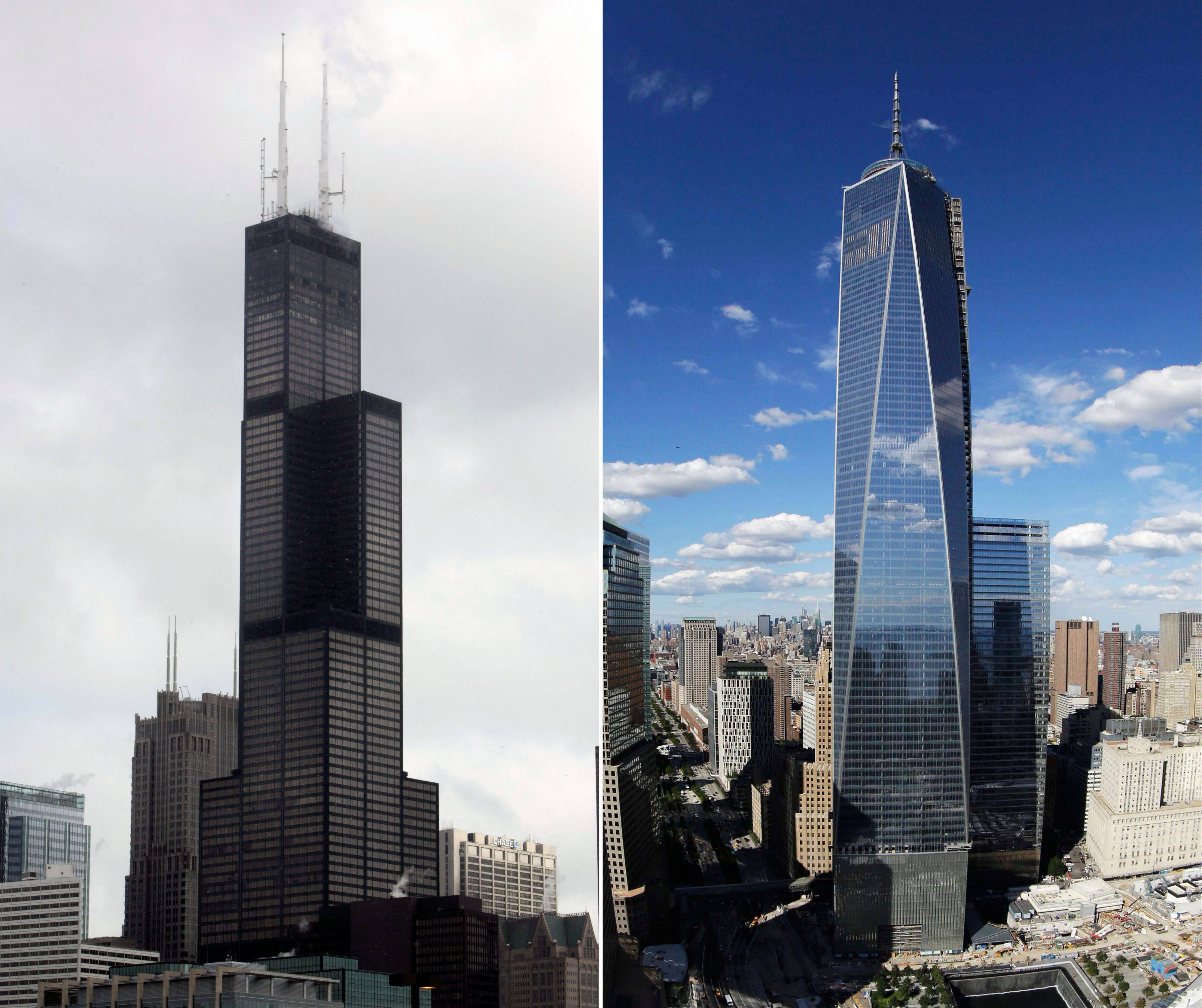 This combination made from file photos shows Willis Tower, formerly known as the Sears Tower, in Chicago on March 12, 2008, left, and 1 World Trade Center in New York on Sept. 5, 2013.