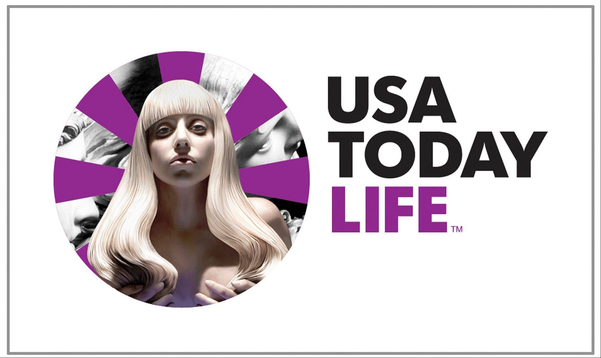 This image released by USA Today shows the logo designed for the newspaper by Lady Gaga. The newspaper says Lady Gaga is the first guest contributor to design a logo for the newspaper.