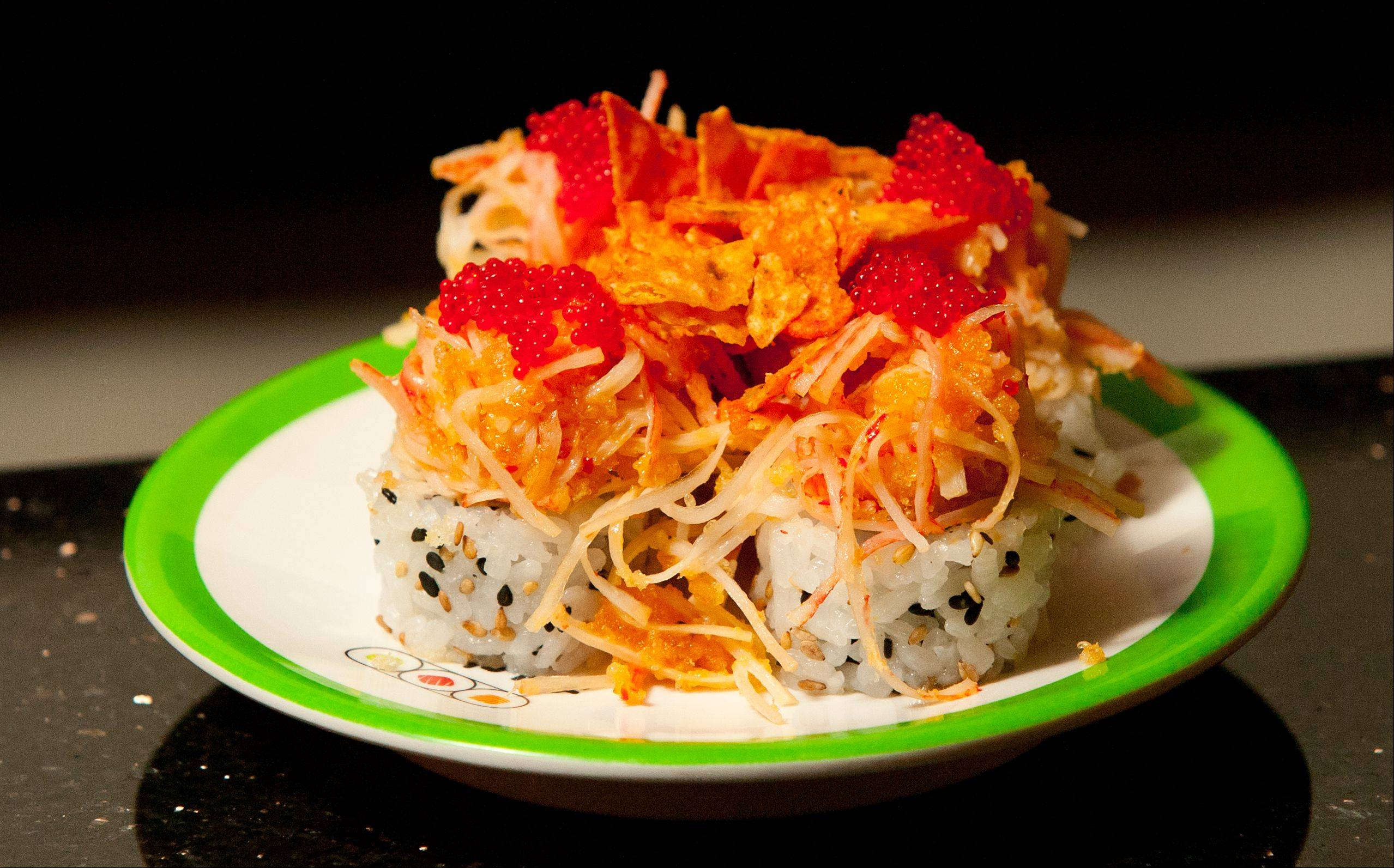 Toyko Sandwich is among the not-to-be-missed items at Sushi + Rotary Sushi Bar.