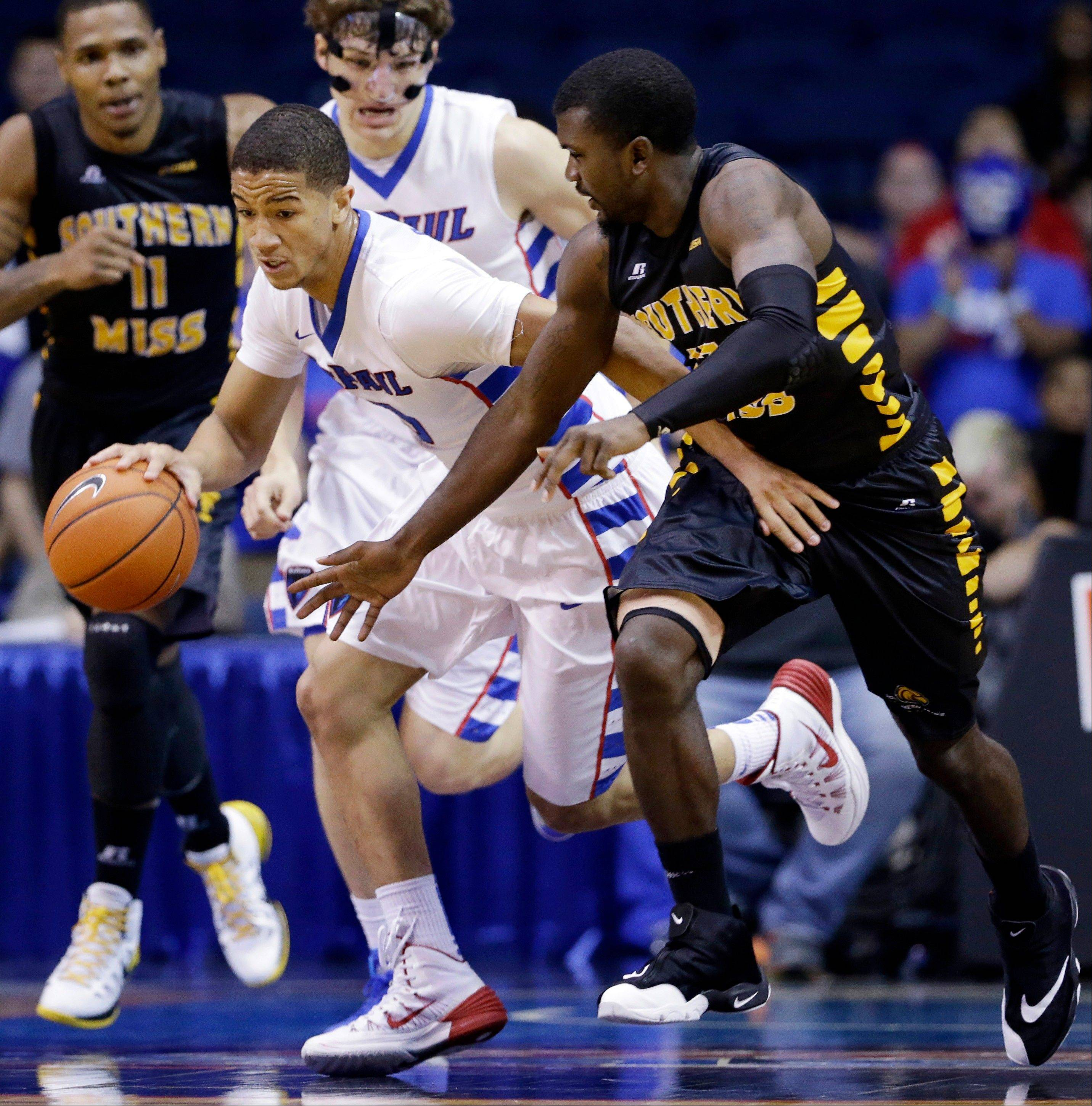Freshman guard Billy Garrett Jr. helped stabilize the DePaul offense Wednesday night against Southern Mississippi at the Allstate Arena.